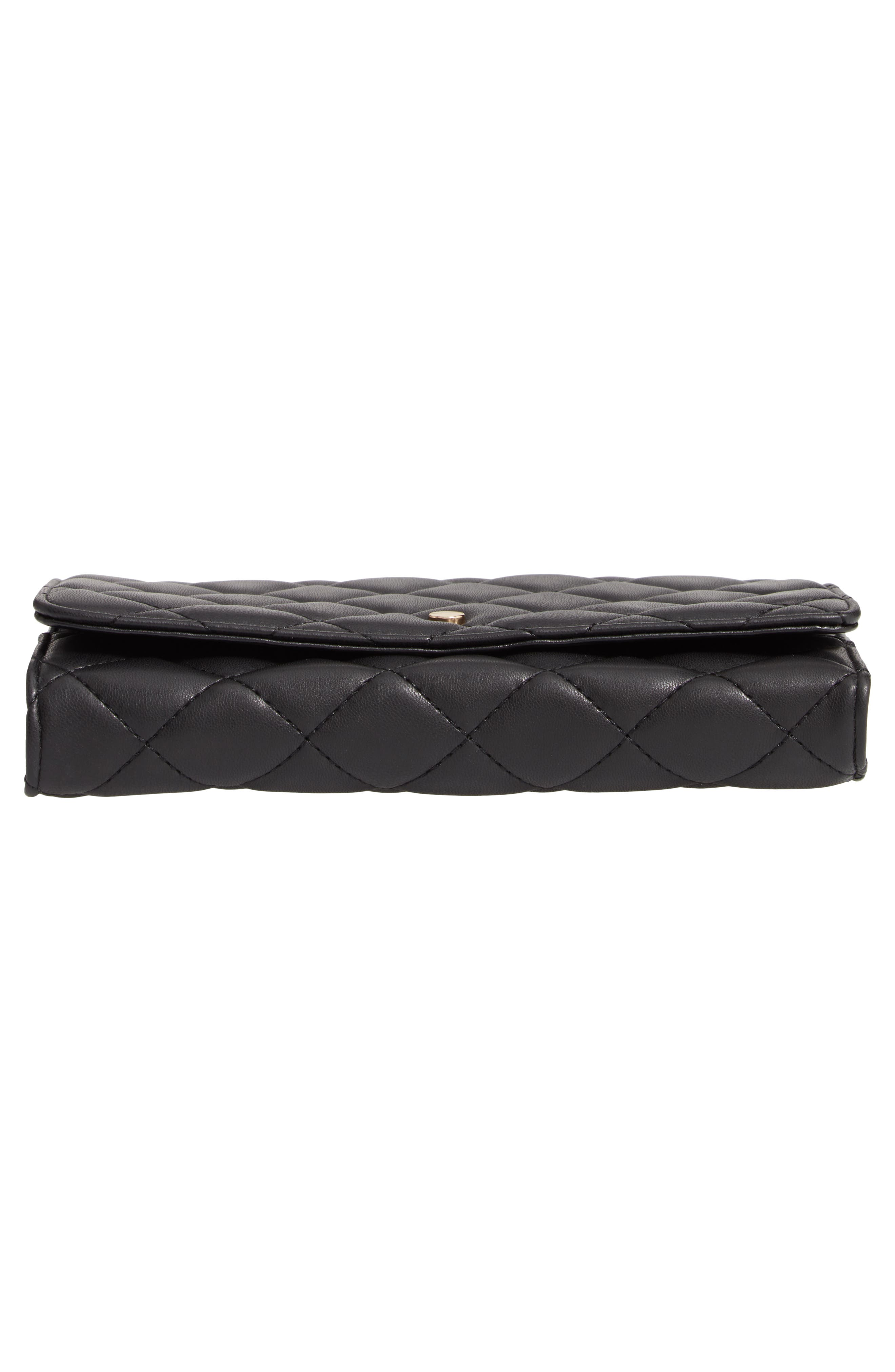 Mali + Lili Ciara Quilted Vegan Leather Convertible Clutch,                             Alternate thumbnail 6, color,                             BLACK