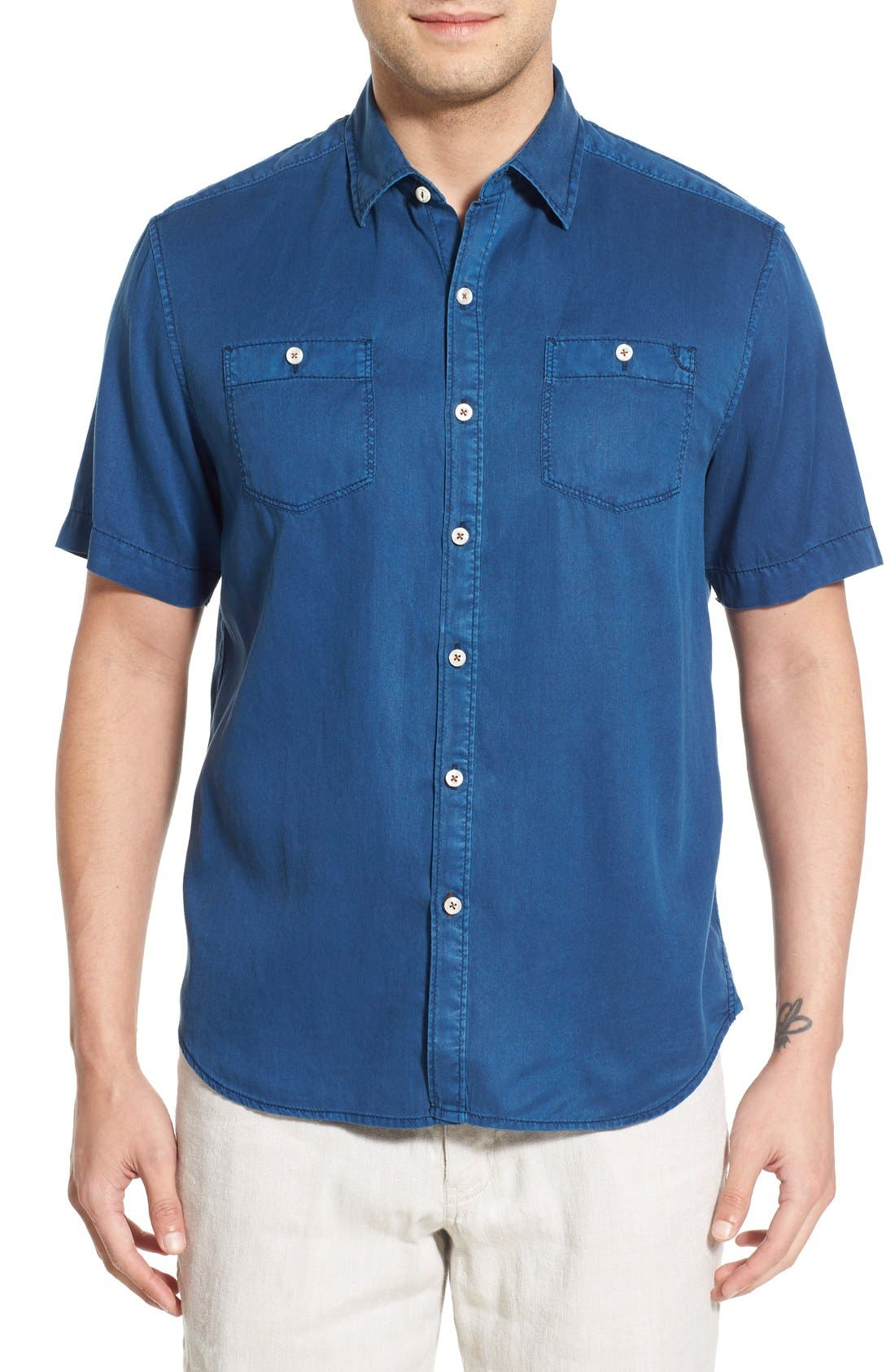 'New Twilly' Island Modern Fit Short Sleeve Twill Shirt,                             Main thumbnail 13, color,