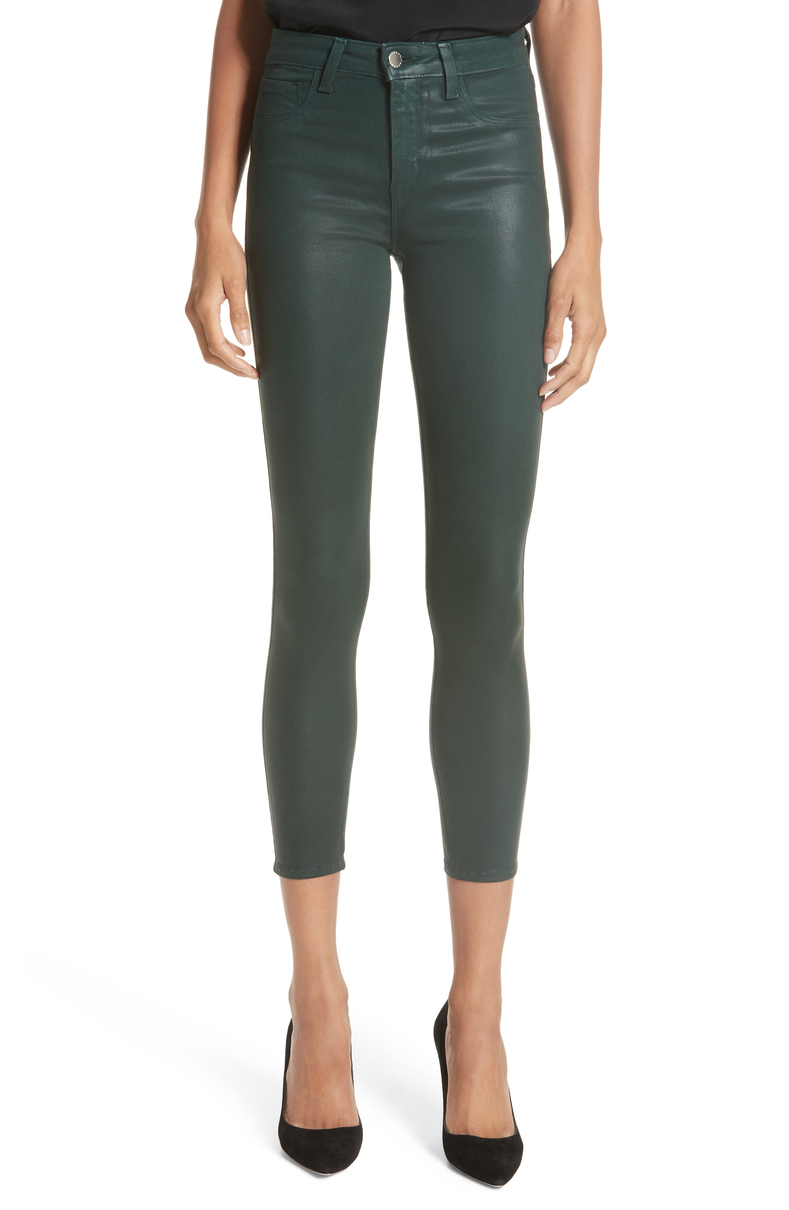 L'AGENCE Margot Coated Crop Skinny Jeans, Main, color, EVERGREEN COATED