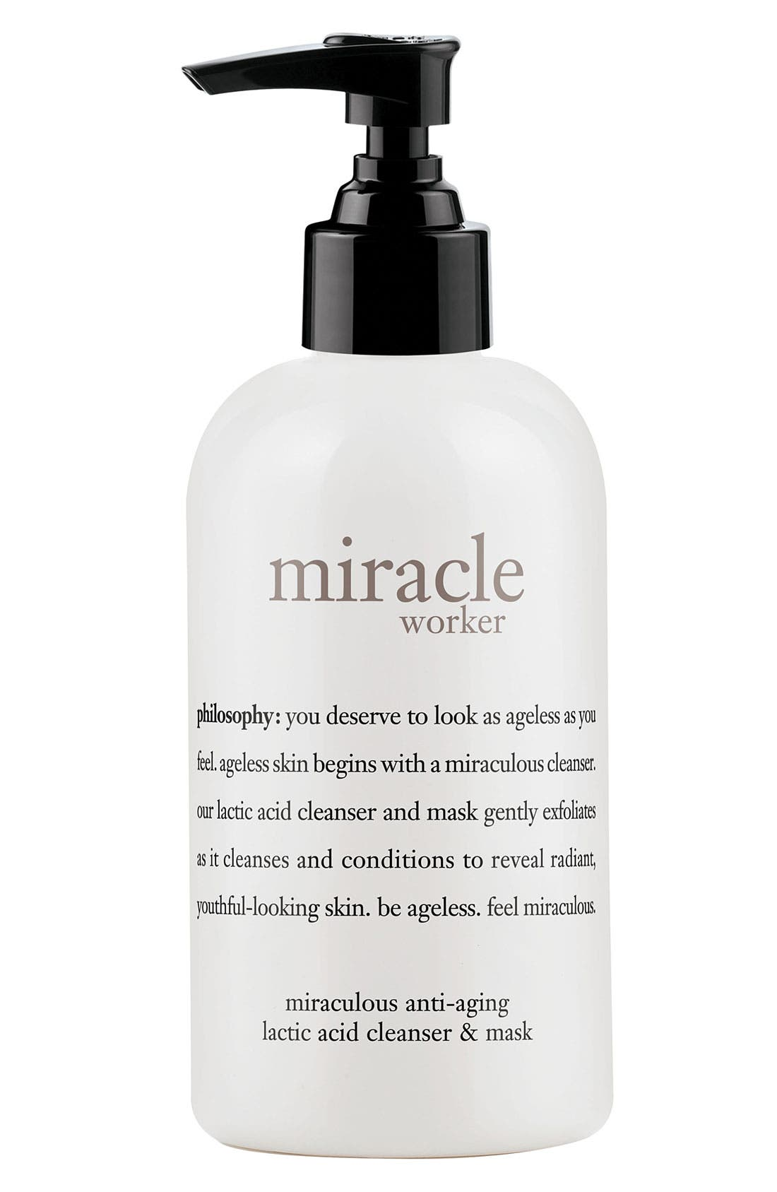 PHILOSOPHY,                             'miracle worker' lactic acid cleanser & mask,                             Main thumbnail 1, color,                             000