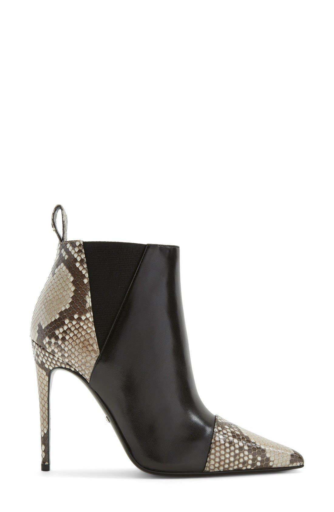 'Daisy' Pointy Toe Genuine Python & Leather Bootie,                             Alternate thumbnail 3, color,                             001