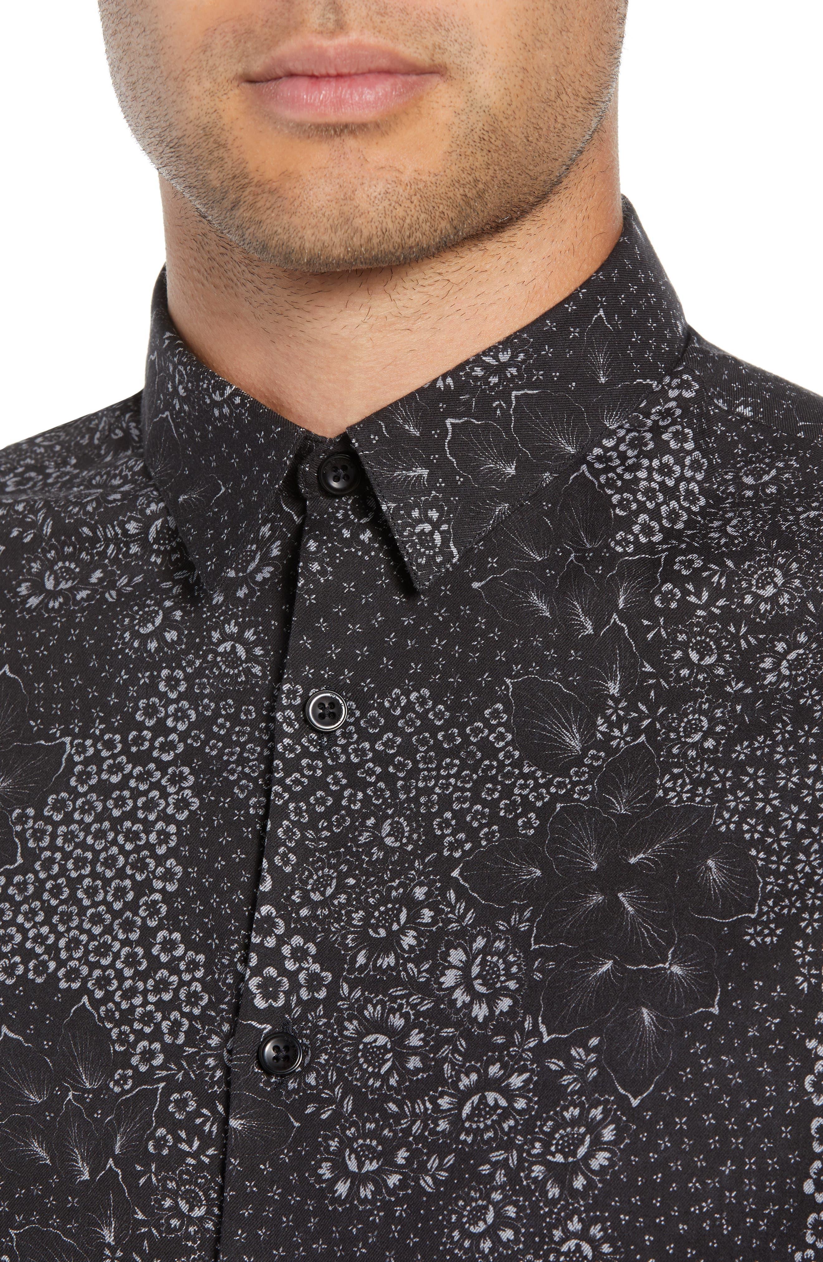 Slim Fit Print Sport Shirt,                             Alternate thumbnail 2, color,                             BLACK