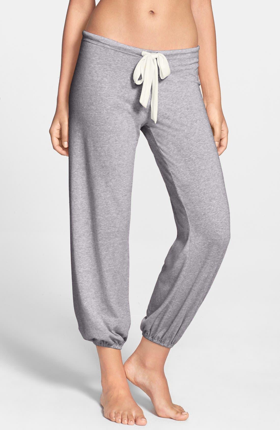 Crop Knit Lounge Pants,                             Main thumbnail 1, color,                             GREY HEATHER
