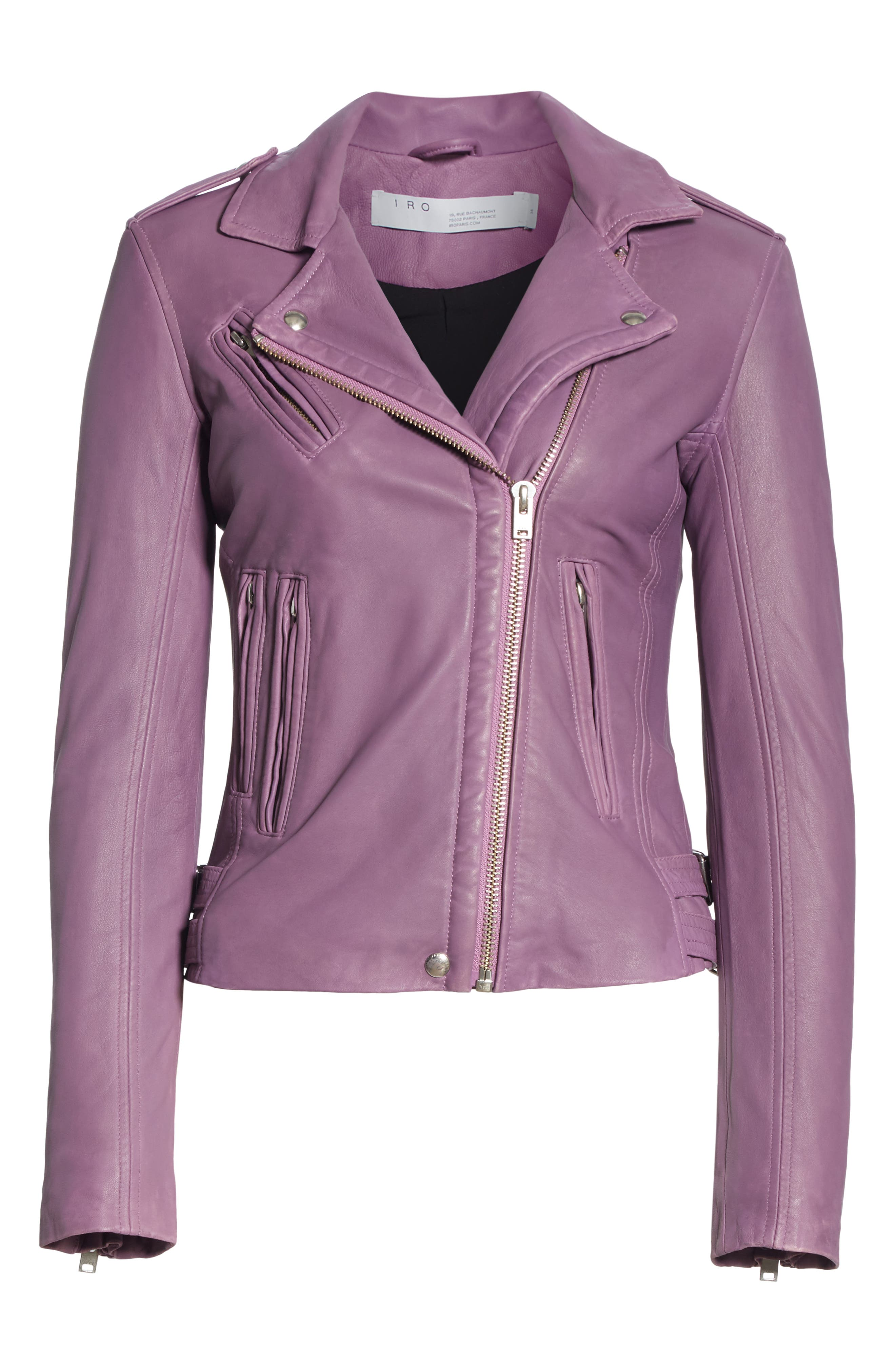 Leather Moto Jacket,                             Alternate thumbnail 5, color,                             DUSTY PINK