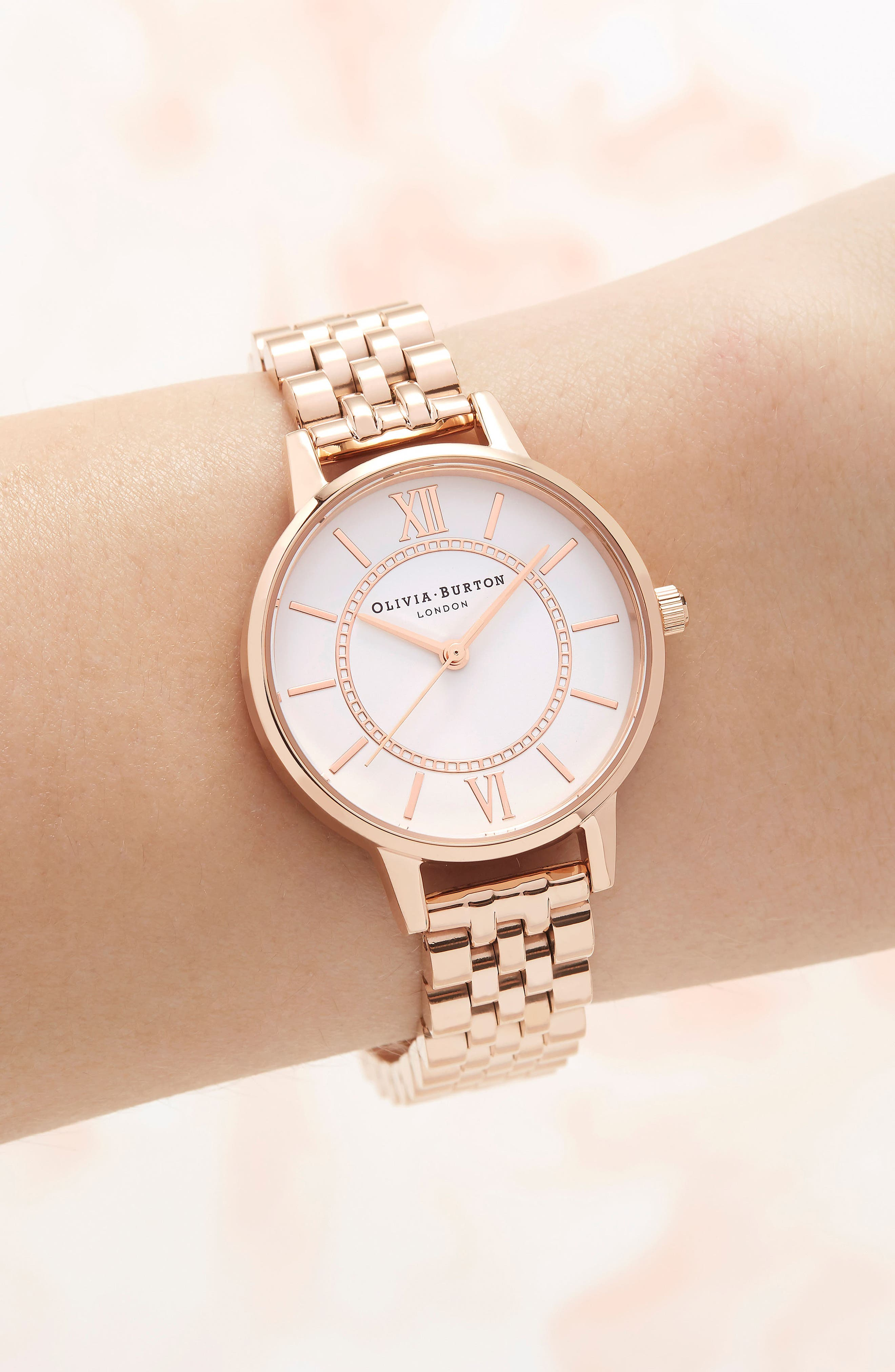 OLIVIA BURTON,                             Wonderland Bracelet Watch, 30mm,                             Alternate thumbnail 2, color,                             ROSE GOLD/ HITE/ ROSE GOLD