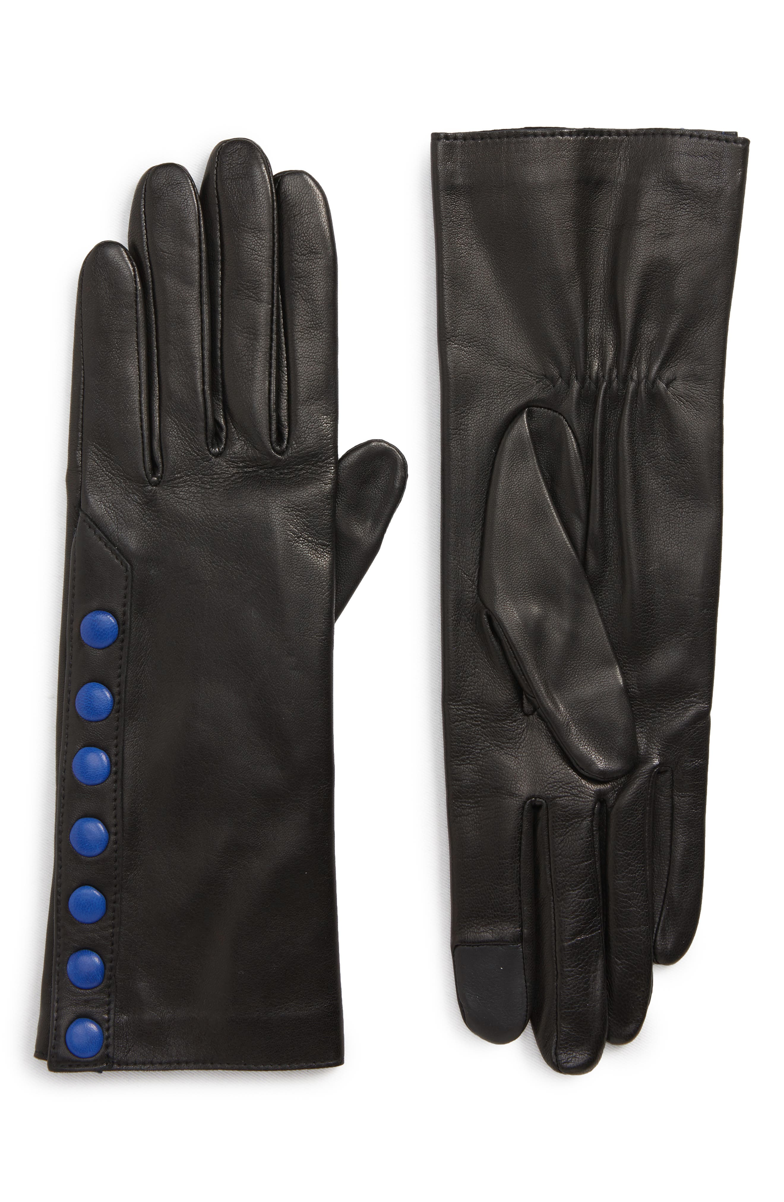Color Pop Button Lambskin Leather Gloves,                             Main thumbnail 1, color,                             001