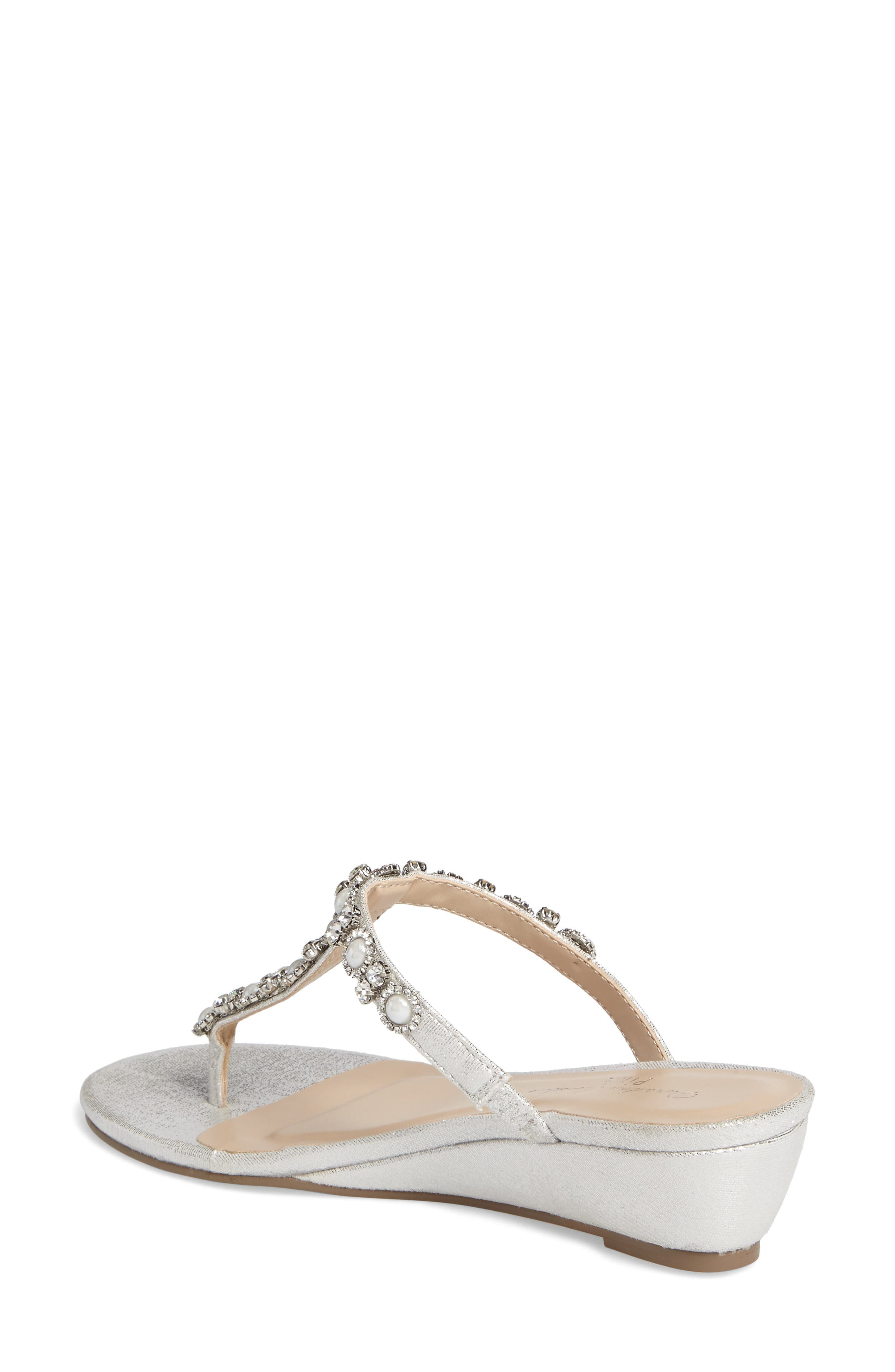 Marnie Embellished T-Strap Wedge,                             Alternate thumbnail 2, color,                             SILVER