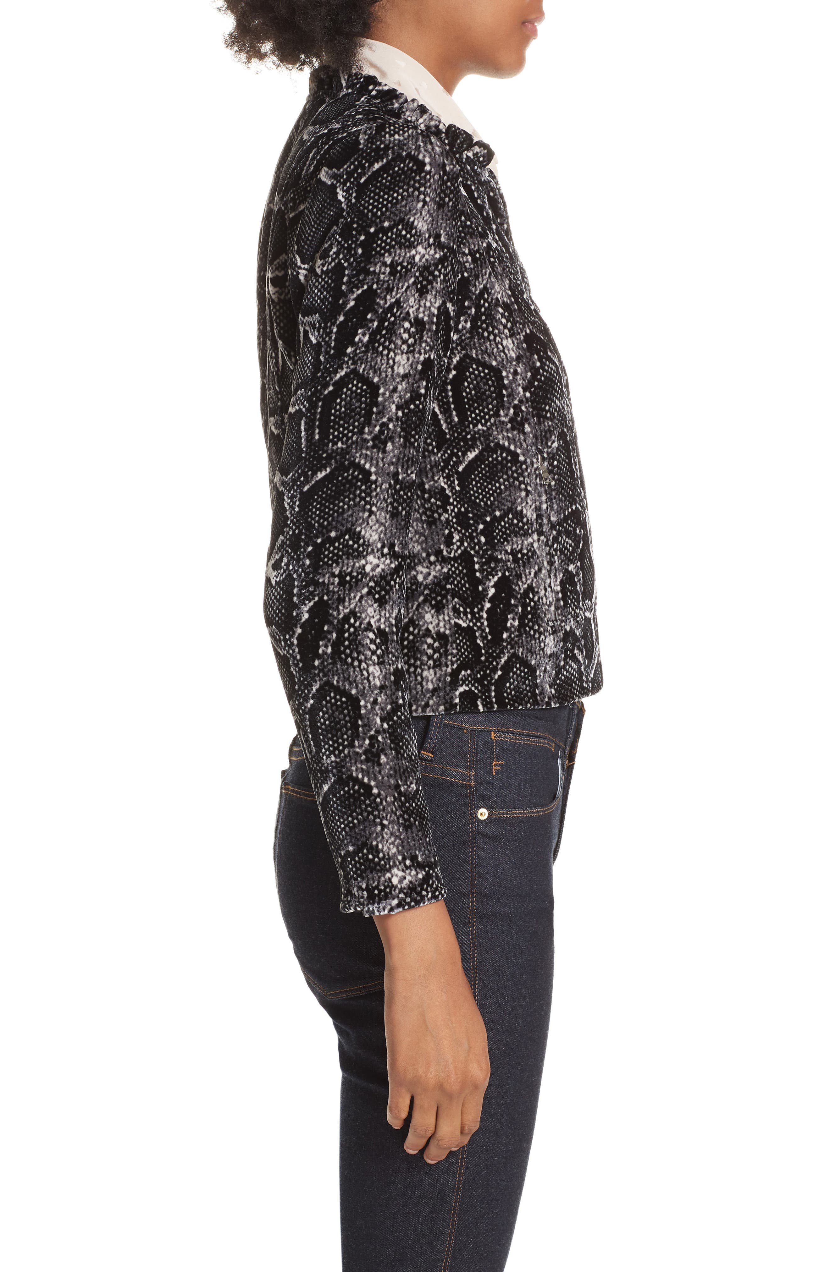 Snake Print Velvet Jacket,                             Alternate thumbnail 3, color,                             WASHED BLACK COMBO