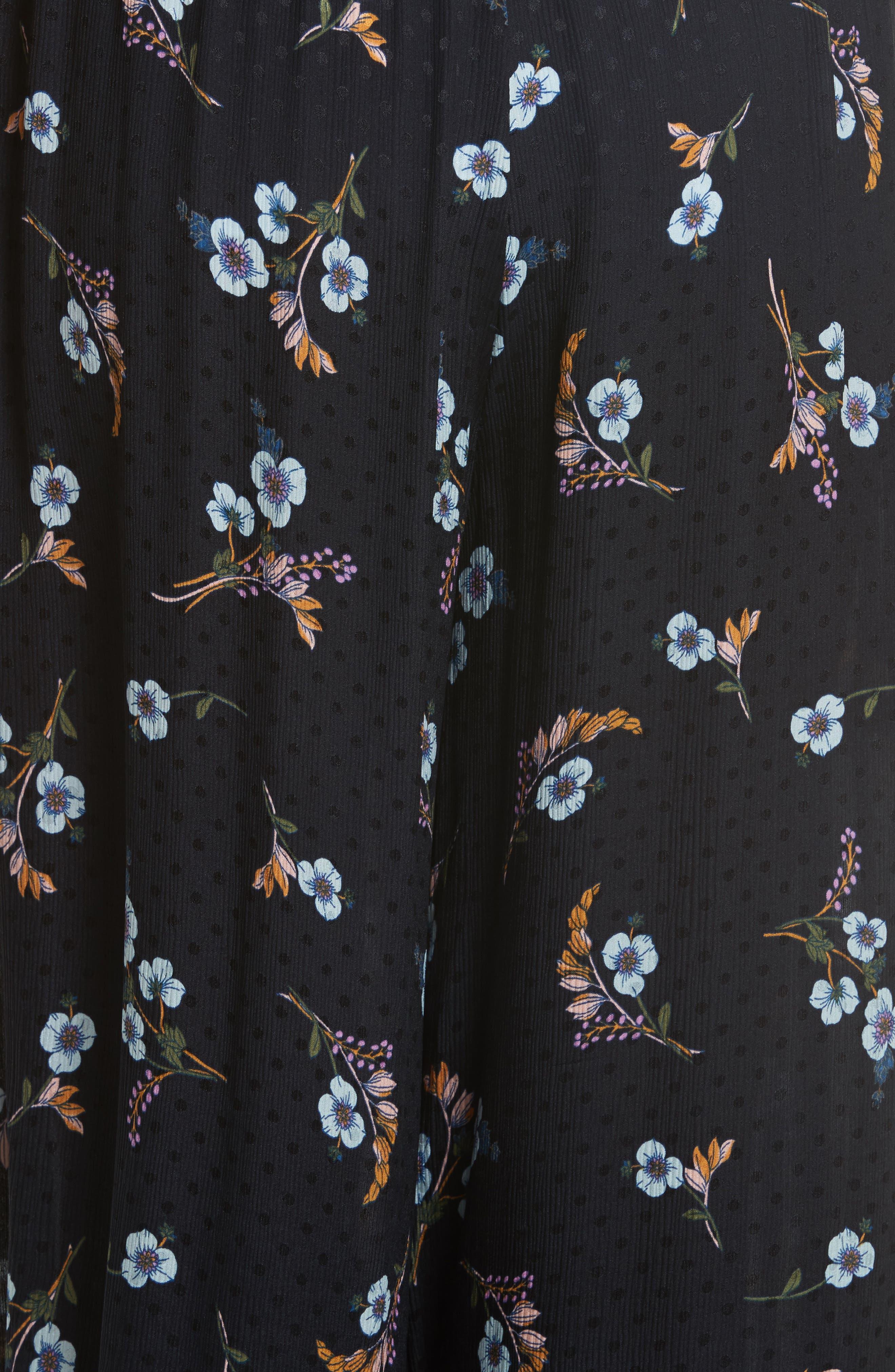 Natalie Fleur Wide Leg Crop Silk Pants,                             Alternate thumbnail 5, color,                             497