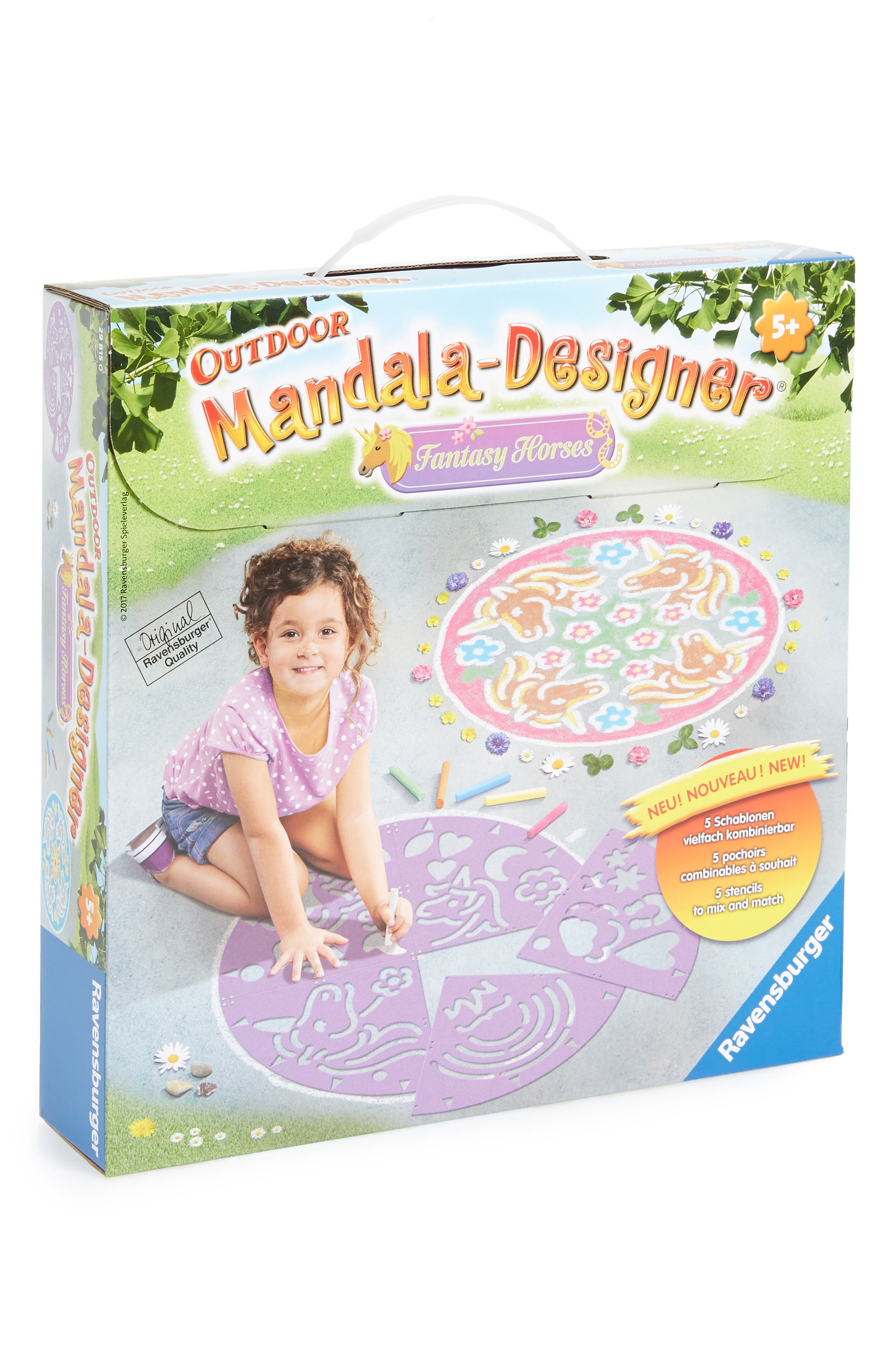 Outdoor Mandala Designer Fantasy Horses Chalk Kit,                             Main thumbnail 1, color,                             PURPLE