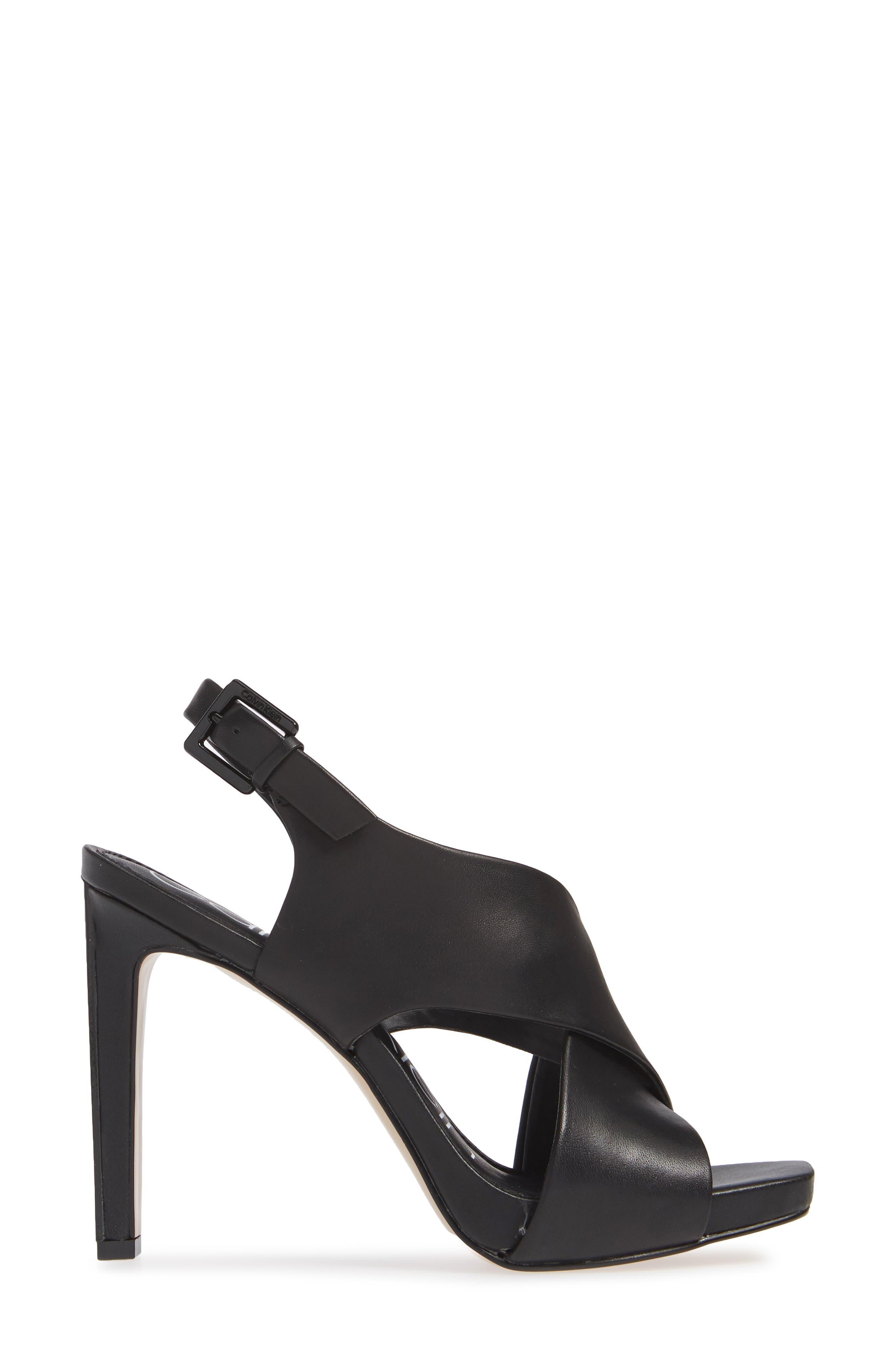 Myra Cross Strap Sandal,                             Alternate thumbnail 3, color,                             BLACK LEATHER