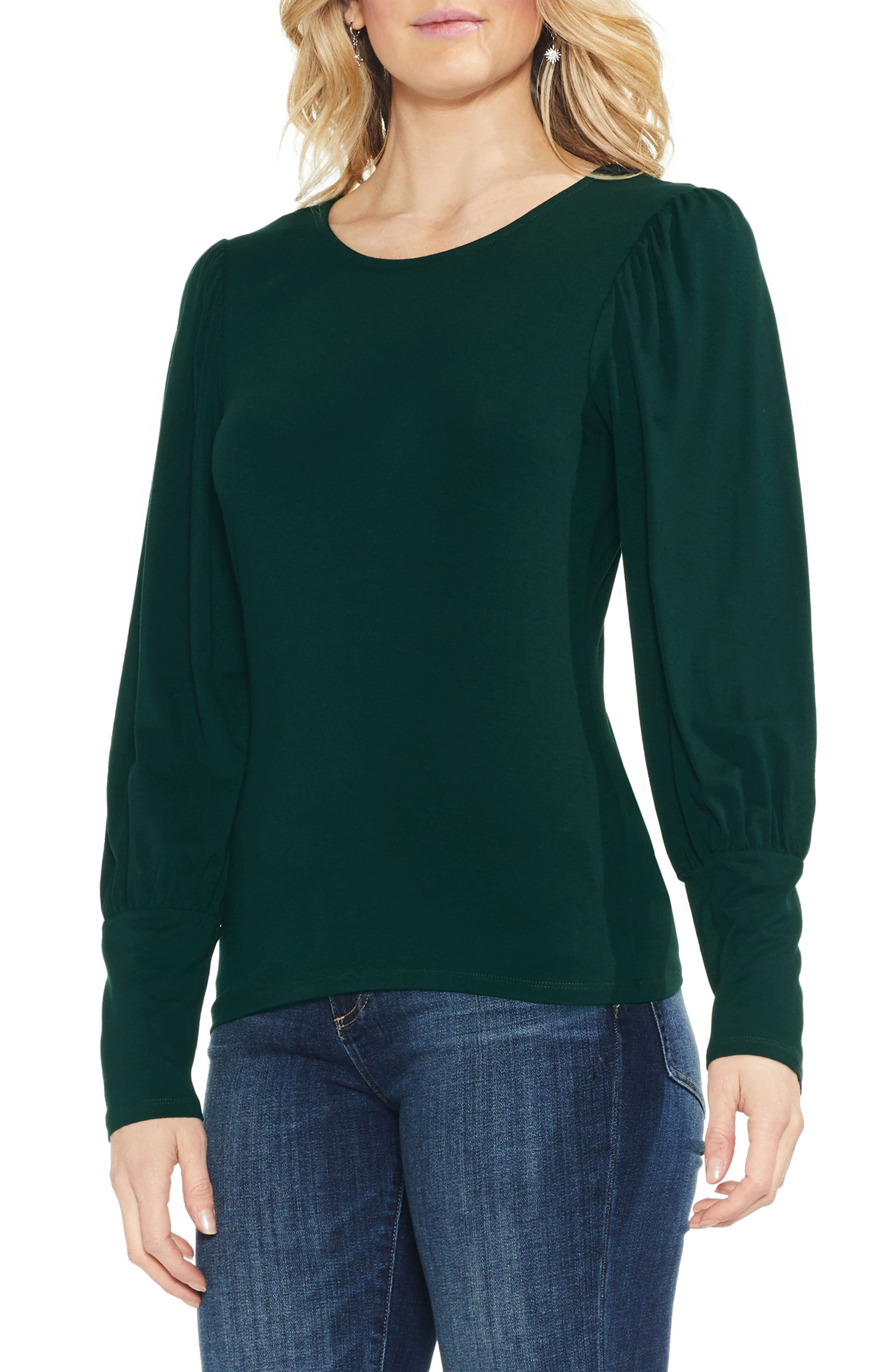 1930s Style Blouses, Shirts, Tops | Vintage Blouses Womens Vince Camuto Long Puff Sleeve Top Size XX-Small - Green $69.00 AT vintagedancer.com