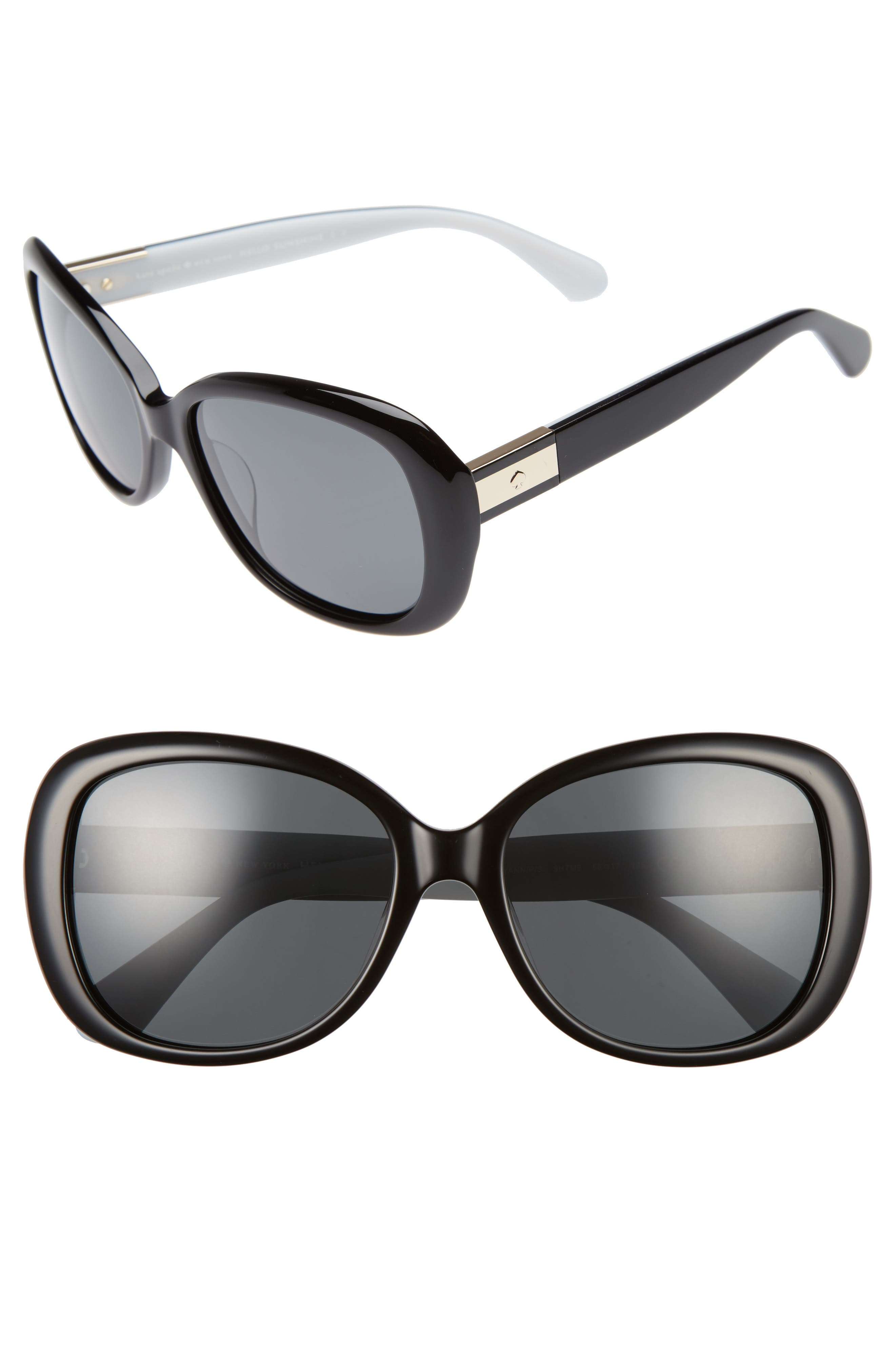 judyann 56mm polarized sunglasses,                         Main,                         color, BLACK/ IVORY