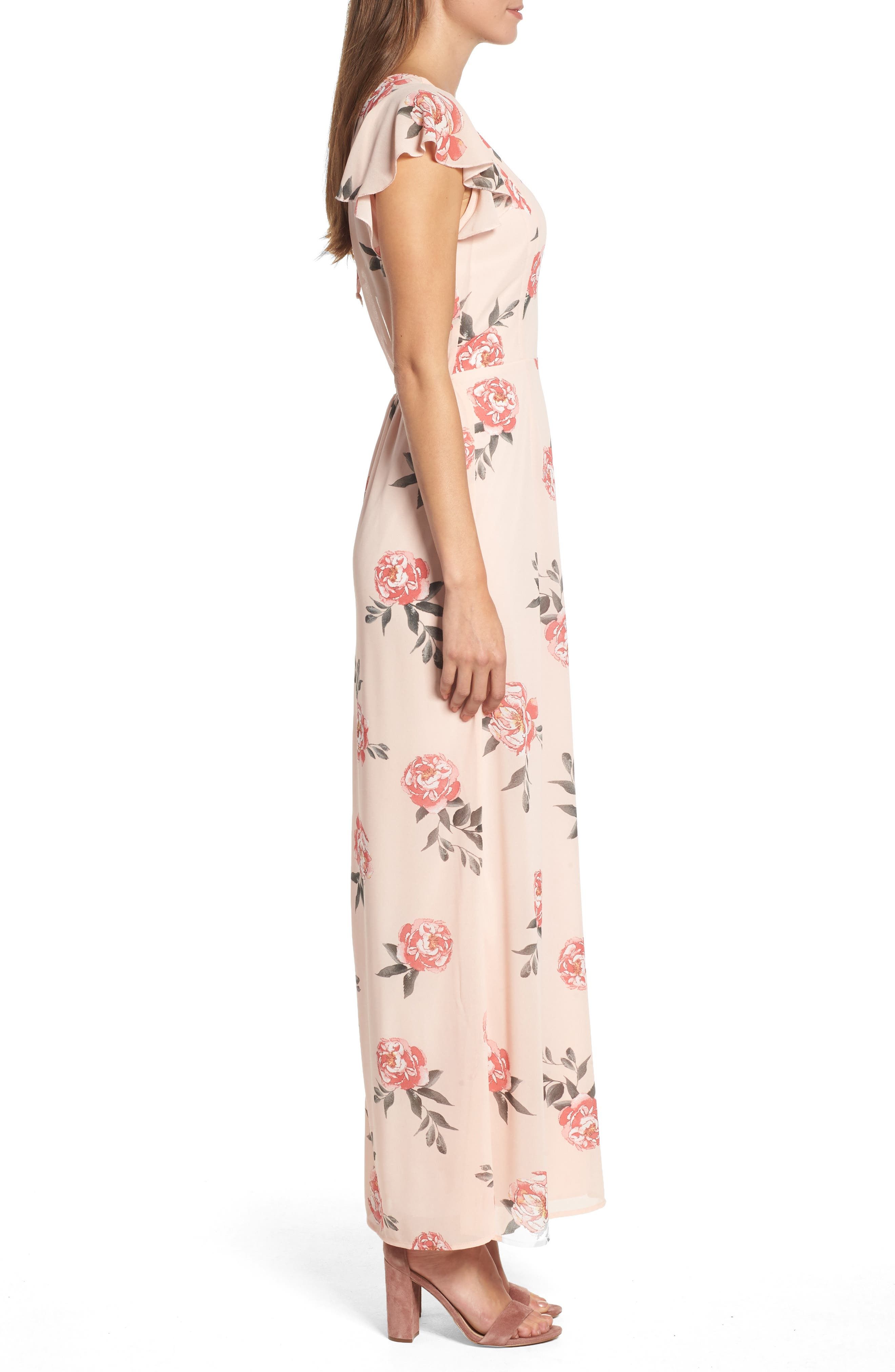 Floral Maxi Dress,                             Alternate thumbnail 3, color,                             LIGHT PEACH