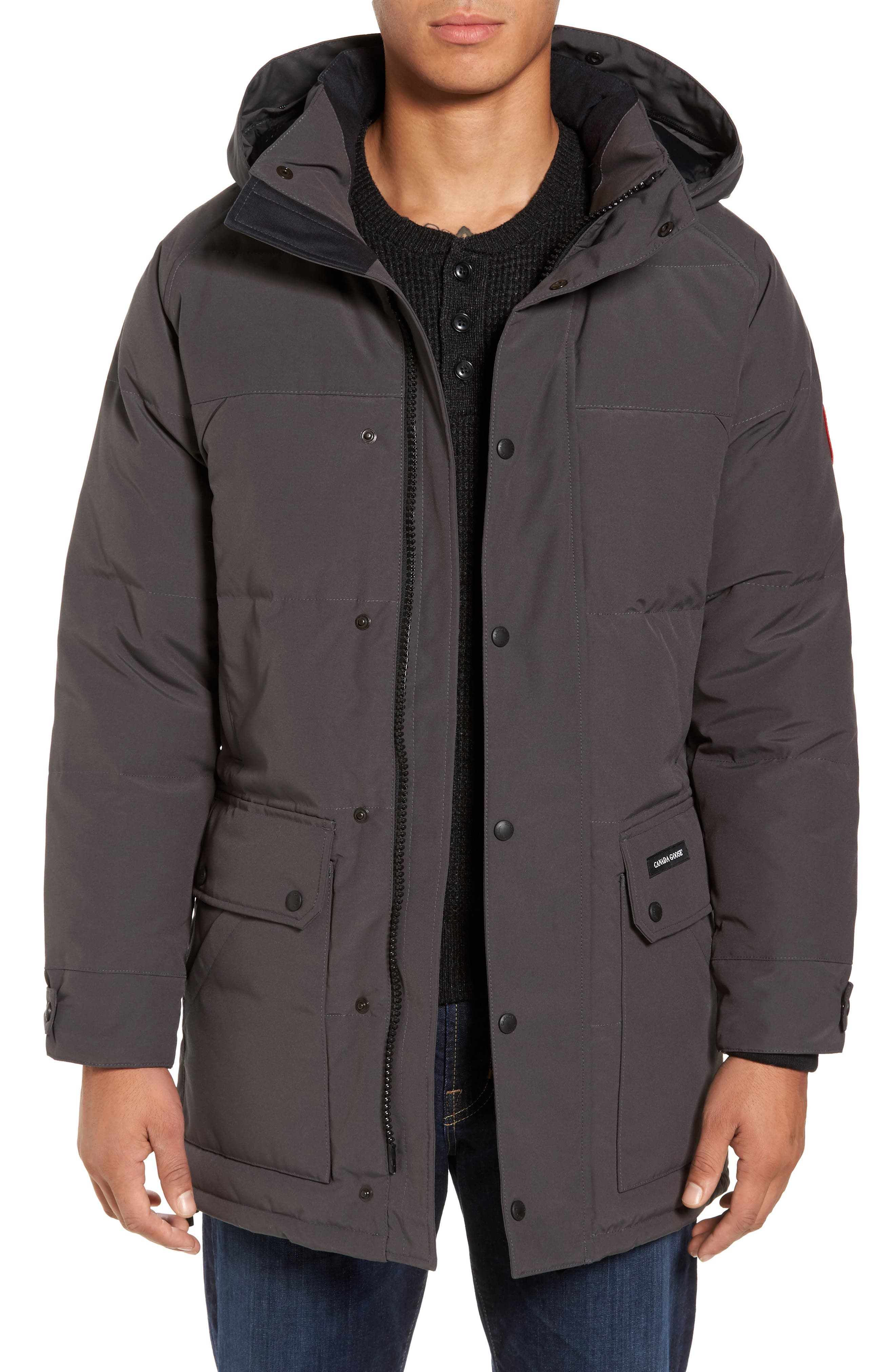 Emory Slim Fit Genuine Coyote Fur Trim Parka,                             Alternate thumbnail 4, color,                             GRAPHITE