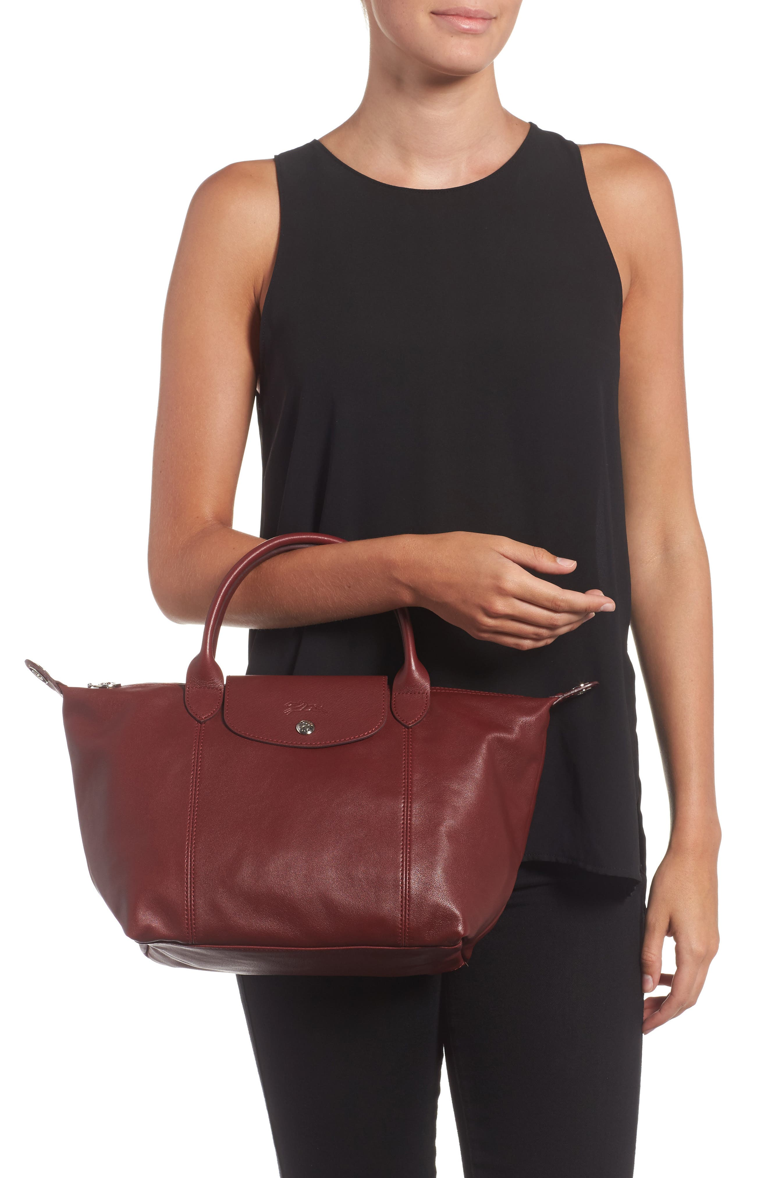Small 'Le Pliage Cuir' Leather Top Handle Tote,                             Alternate thumbnail 39, color,