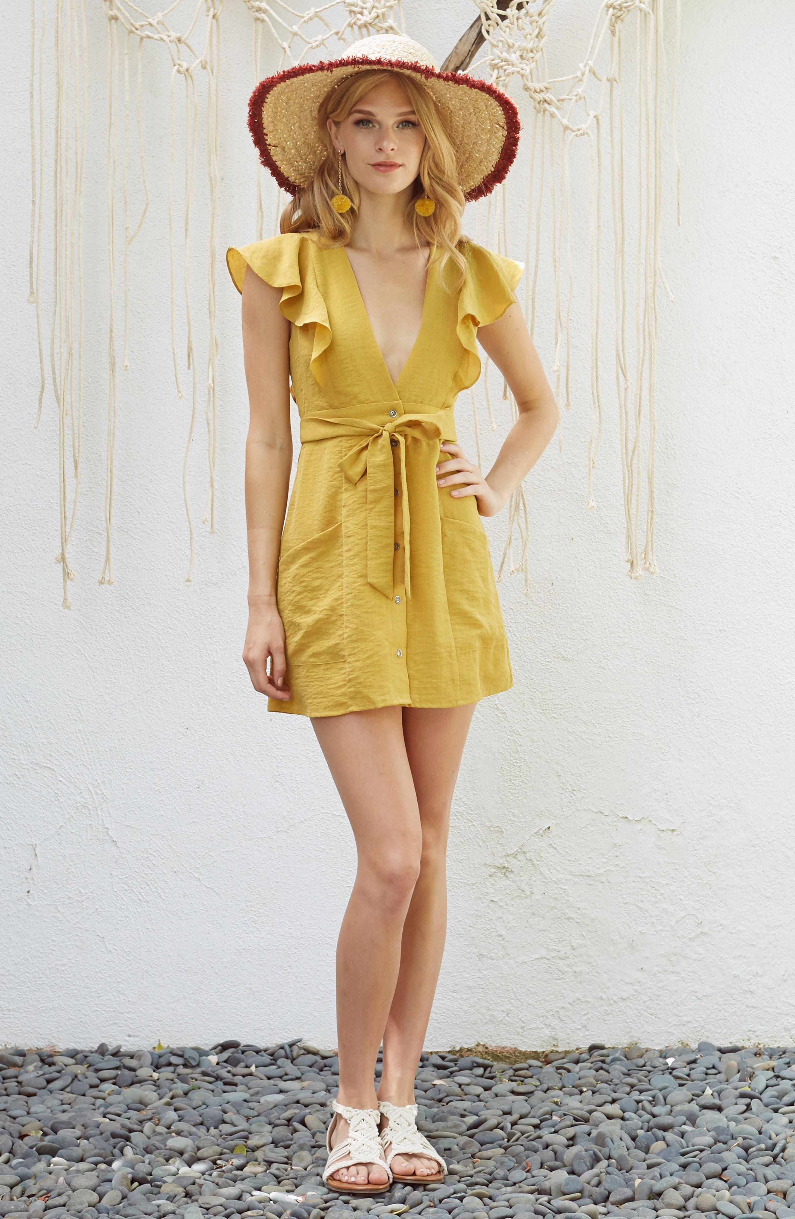 Poppy Flutter Sleeve Tie Dress,                             Alternate thumbnail 7, color,