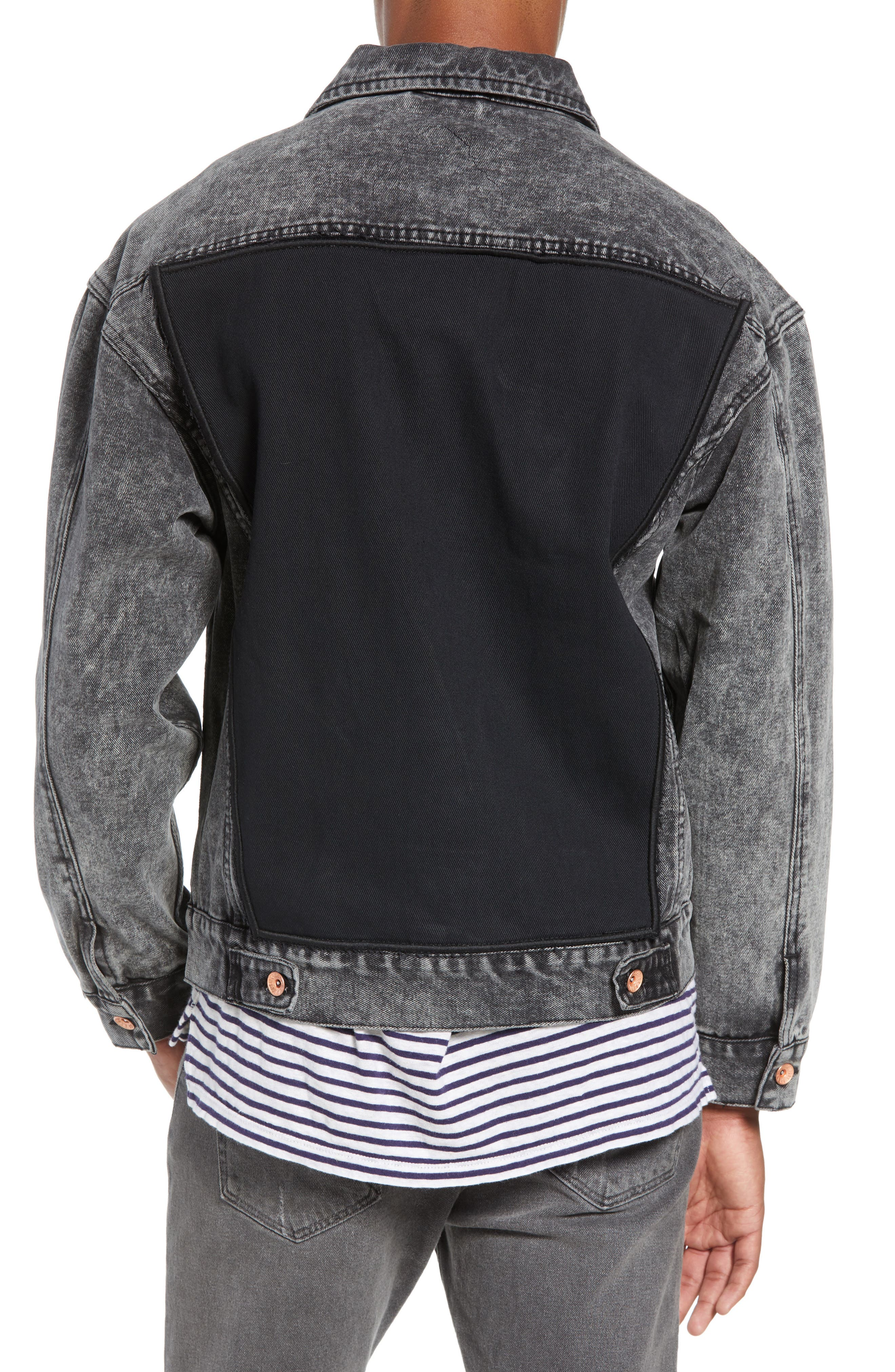Classic Fit Denim Jacket,                             Alternate thumbnail 2, color,                             BLACK ACID WASH