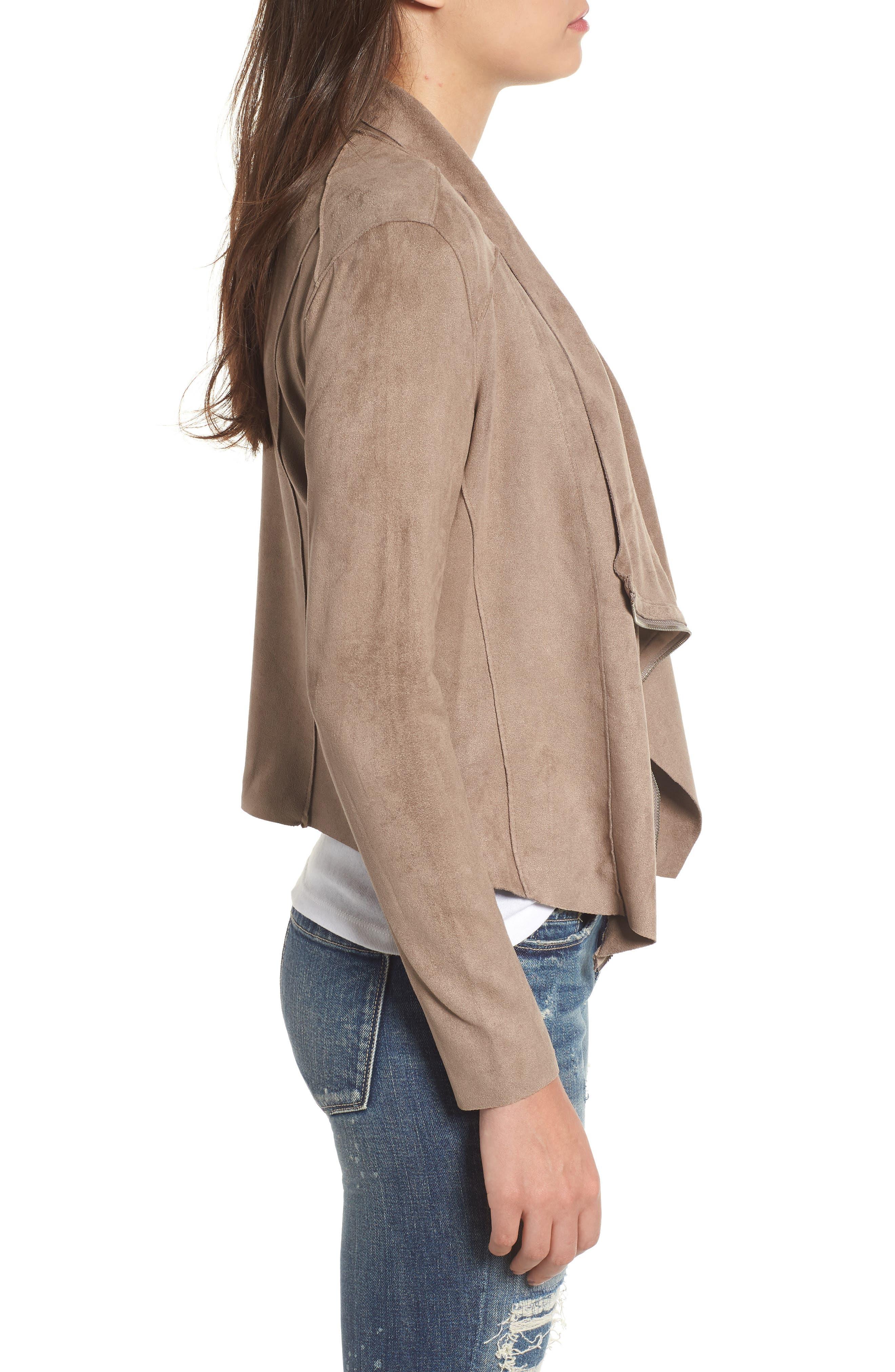 Drape Front Faux Suede Jacket,                             Alternate thumbnail 3, color,                             MT RUSHMORE