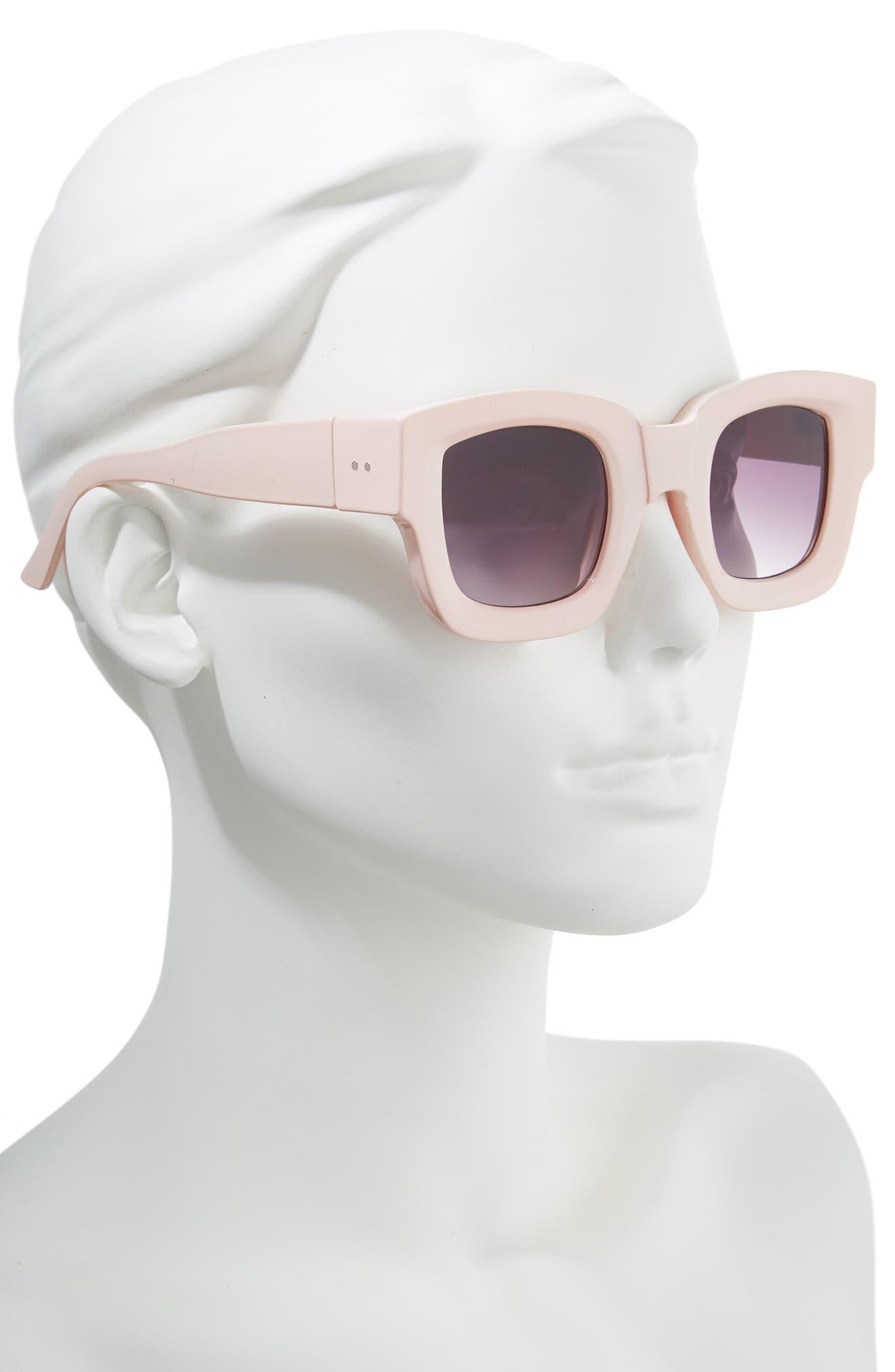 45mm Square Sunglasses,                             Alternate thumbnail 2, color,                             PALE PINK