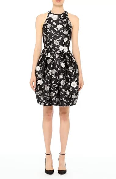 Carmen Marc Valvo Embellished Appliqué Floral Jacquard Cocktail Dress, video thumbnail