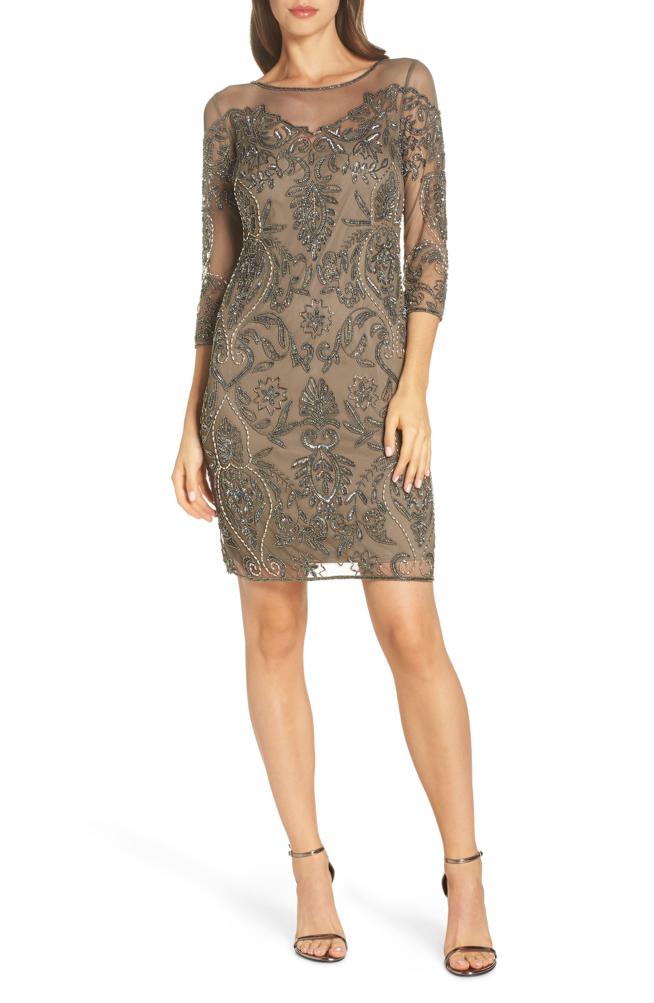 Beaded Illusion Mesh Sheath Dress,                             Main thumbnail 1, color,                             MOCHA