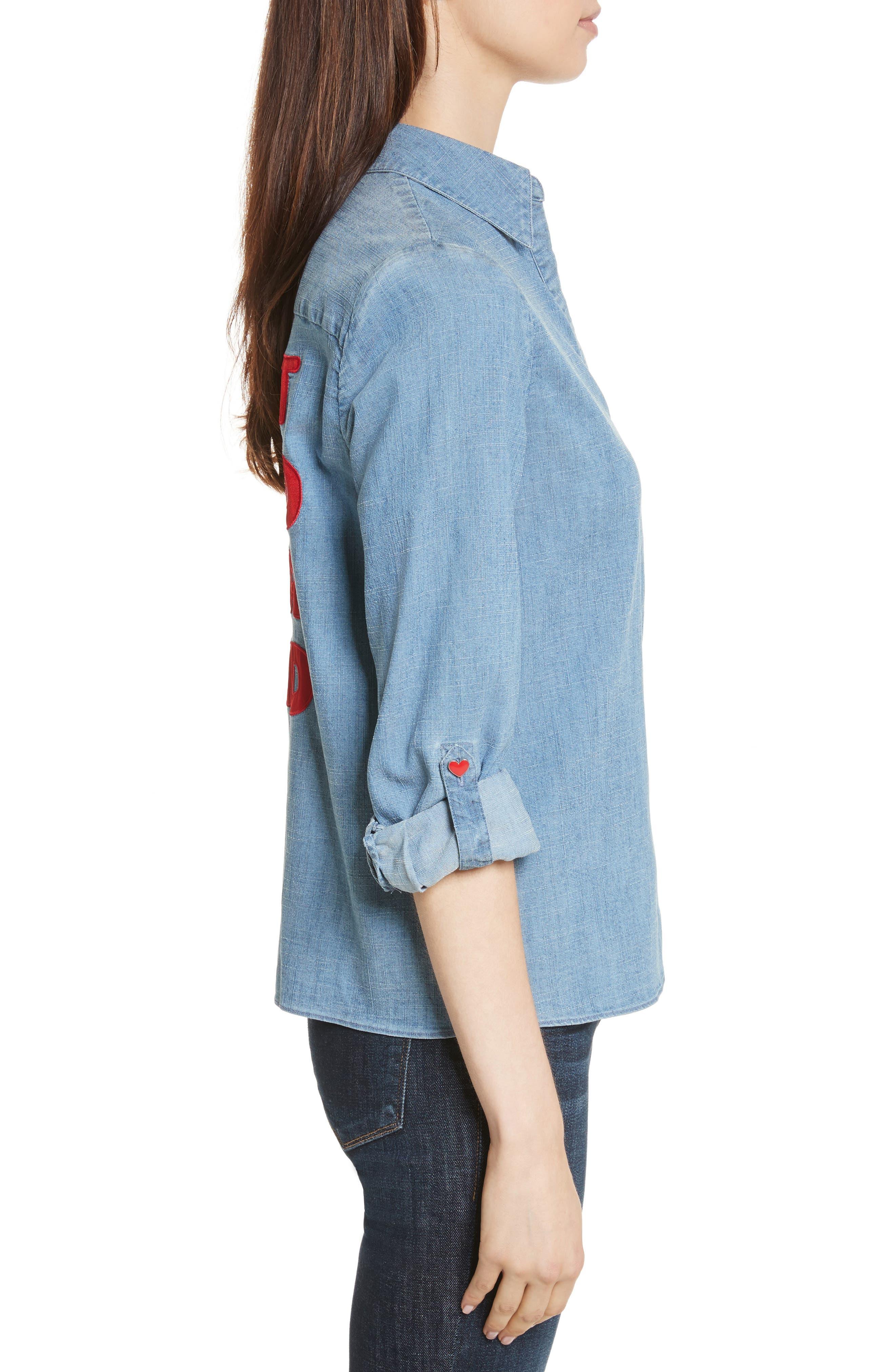 Eloise Appliqué Roll-Cuff Shirt,                             Alternate thumbnail 3, color,                             484