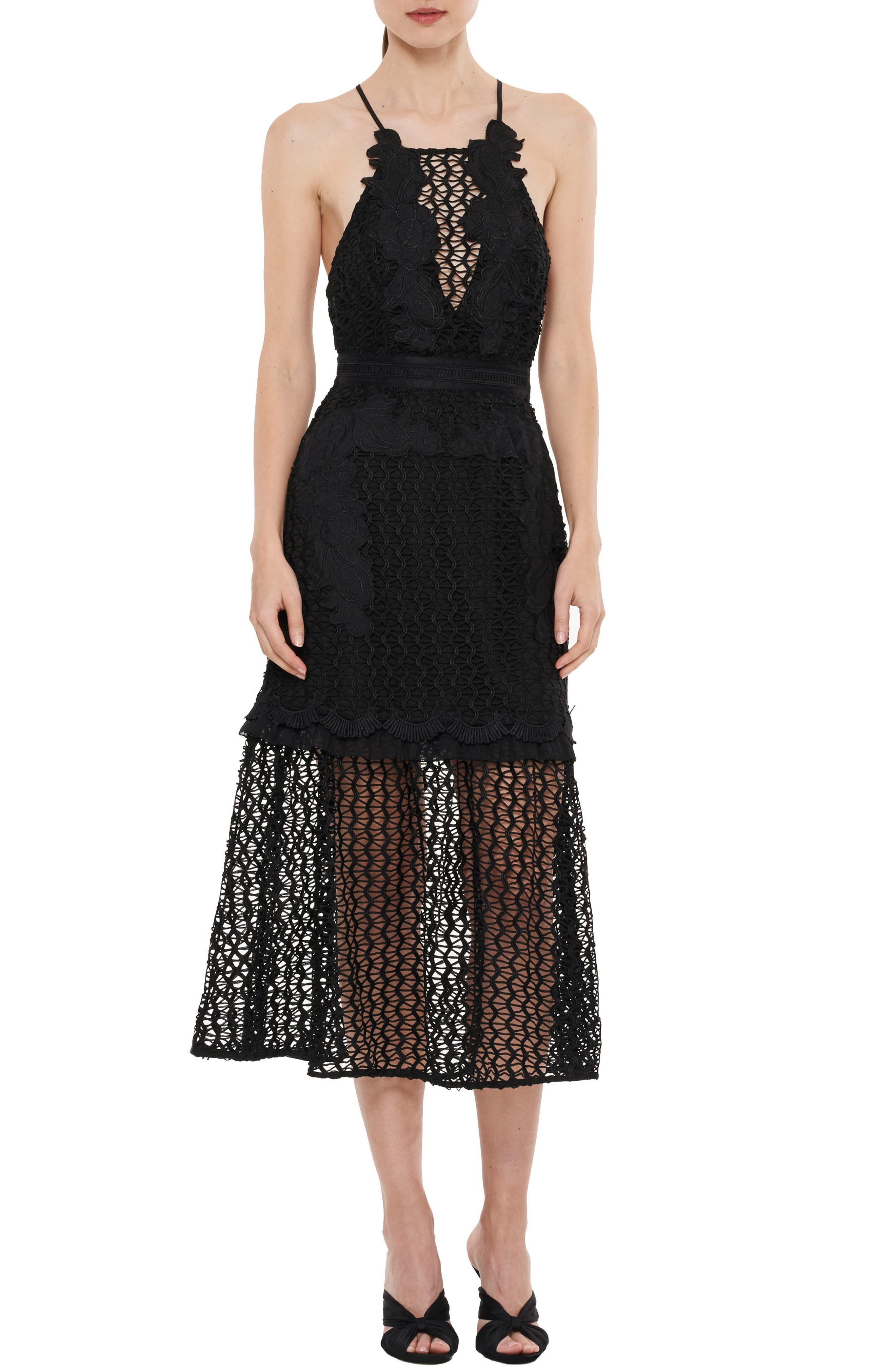 Sweet Dreams Crochet A-Line Dress,                         Main,                         color, 001