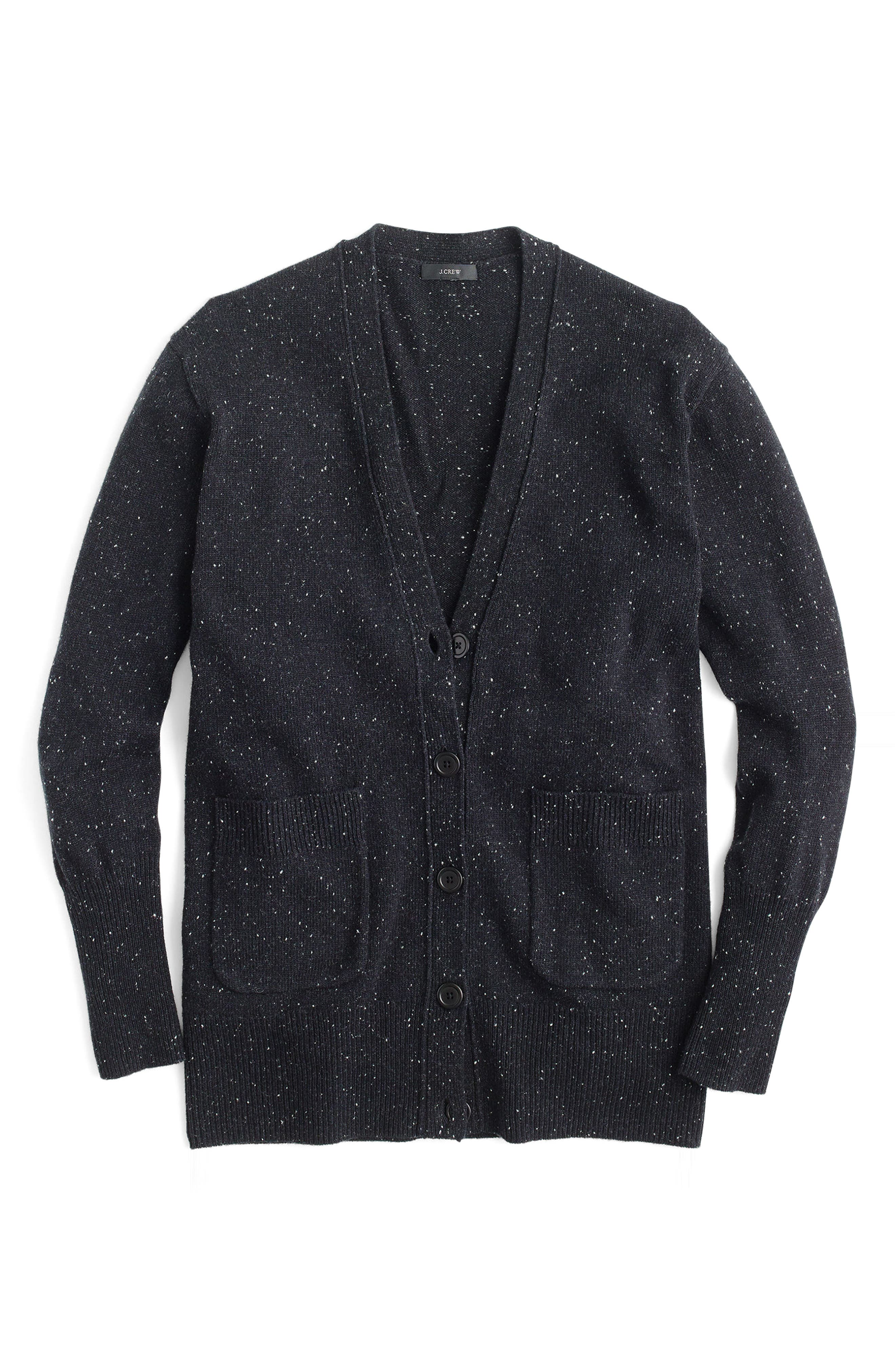 Long Donegal Wool Cardigan,                             Alternate thumbnail 6, color,                             001