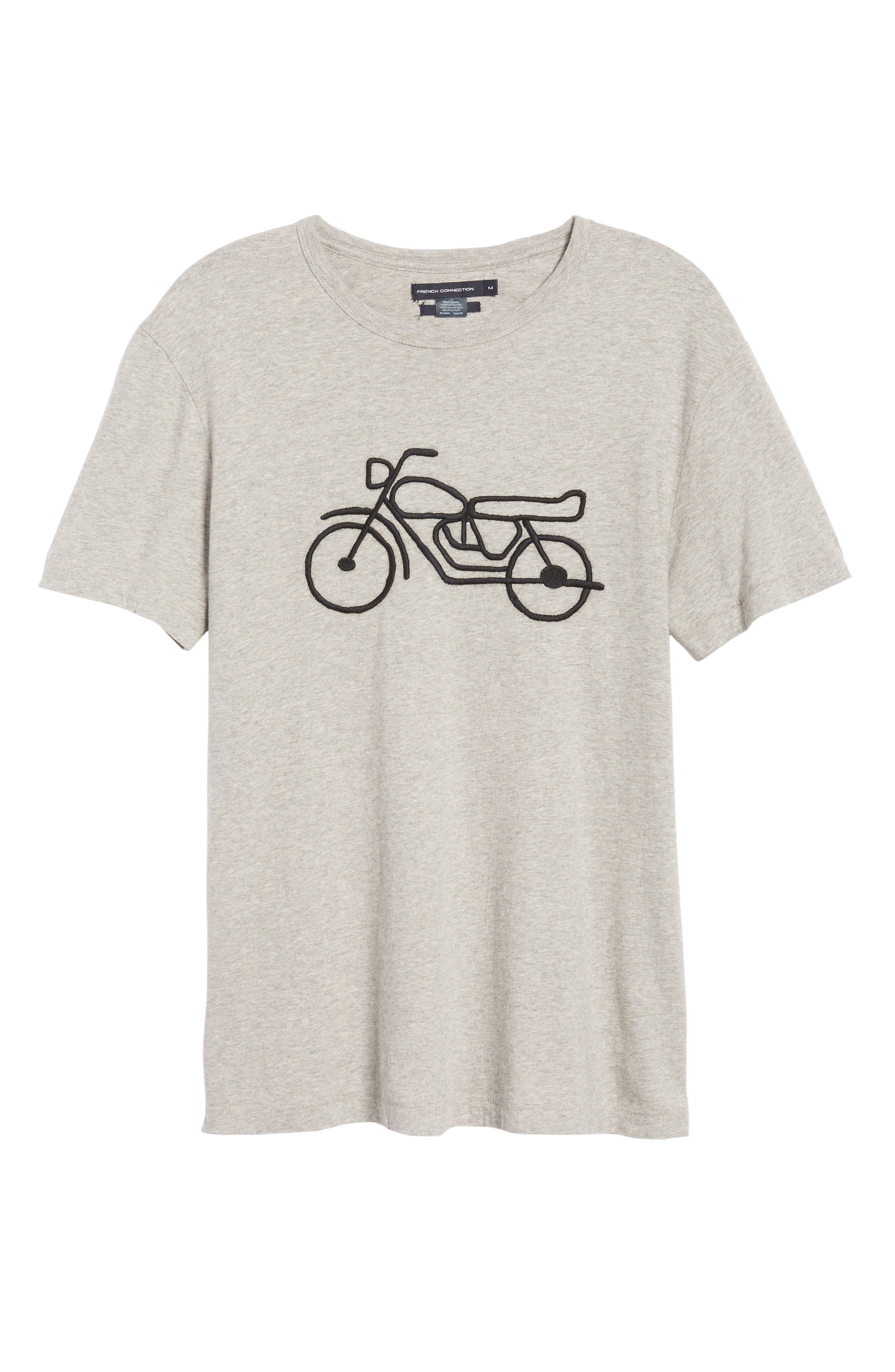 Motorcycle Regular Fit Cotton T-Shirt,                             Alternate thumbnail 6, color,                             GREY MELANGE BLACK