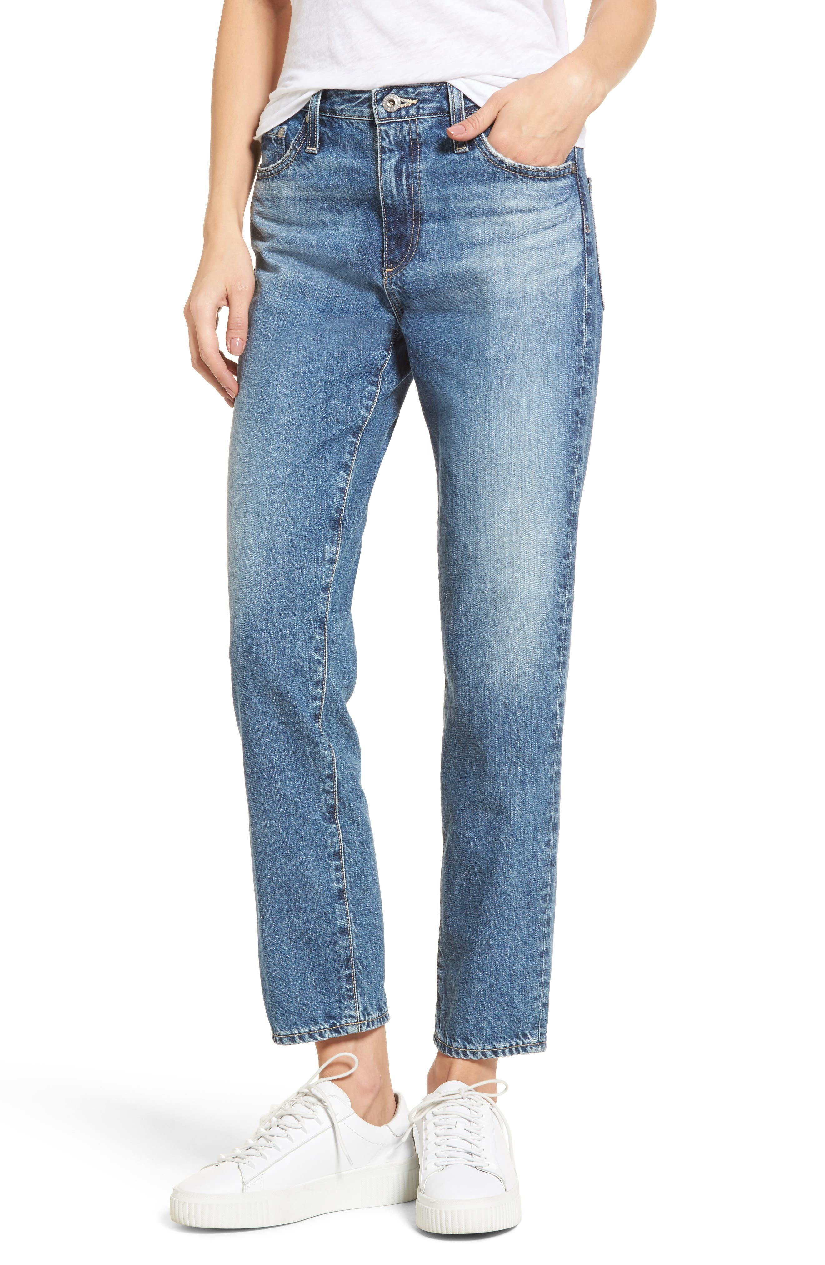 Isabelle High Waist Straight Leg Crop Jeans,                             Main thumbnail 1, color,                             436