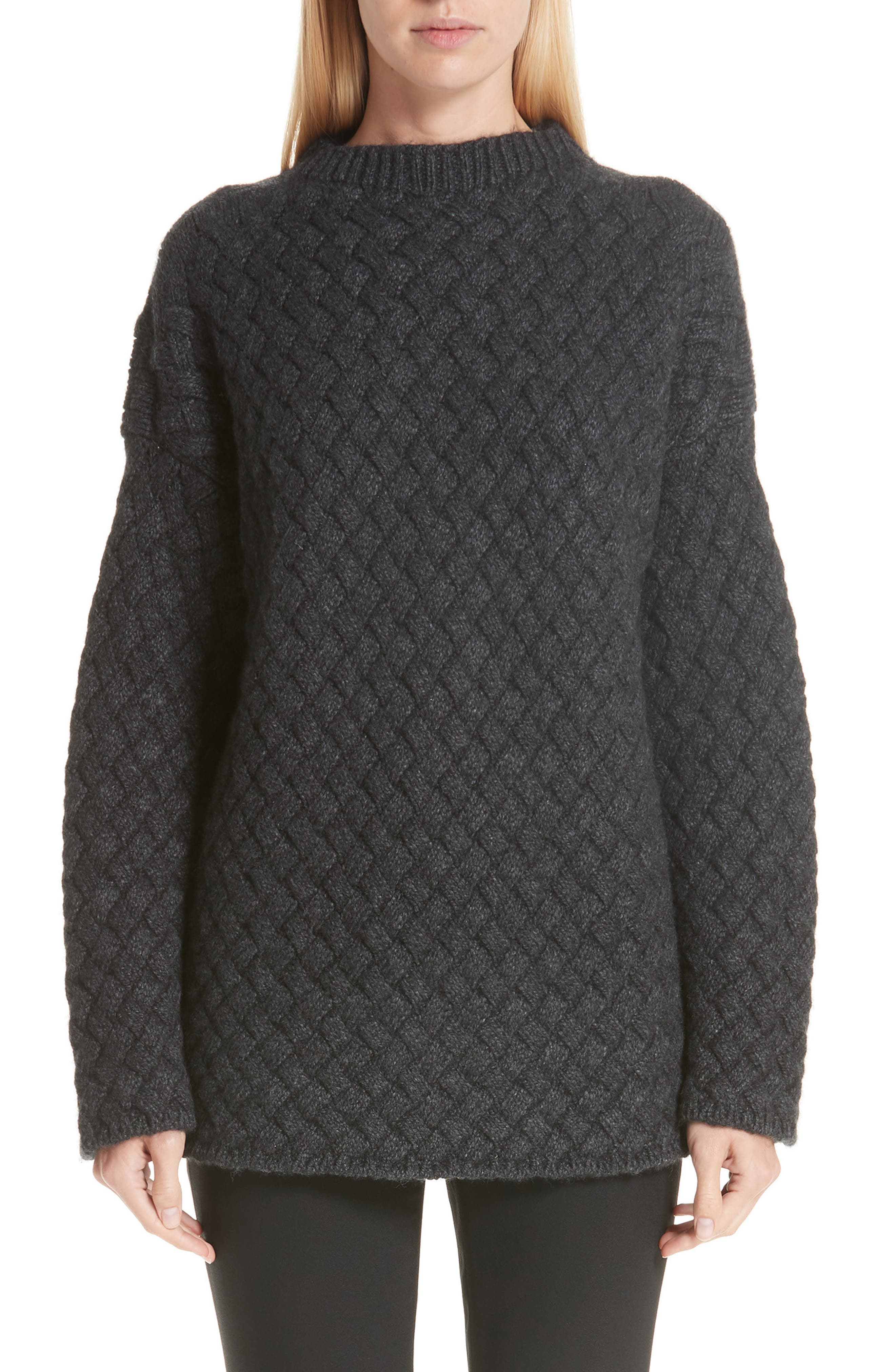 Oversized Braided Cashmere Sweater,                             Main thumbnail 1, color,                             DARK GREY