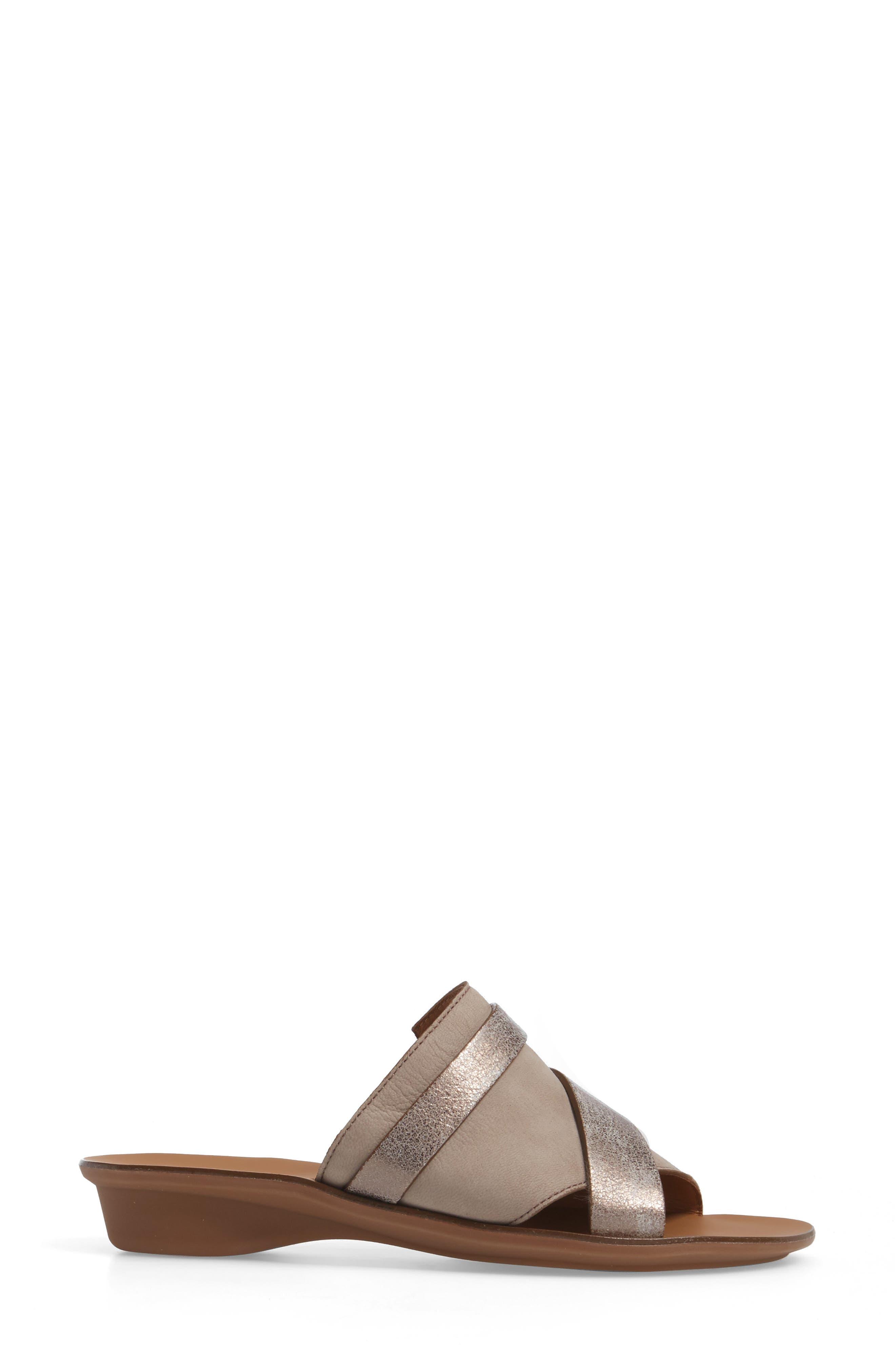 'Bayside' Leather Sandal,                             Alternate thumbnail 3, color,                             GREY