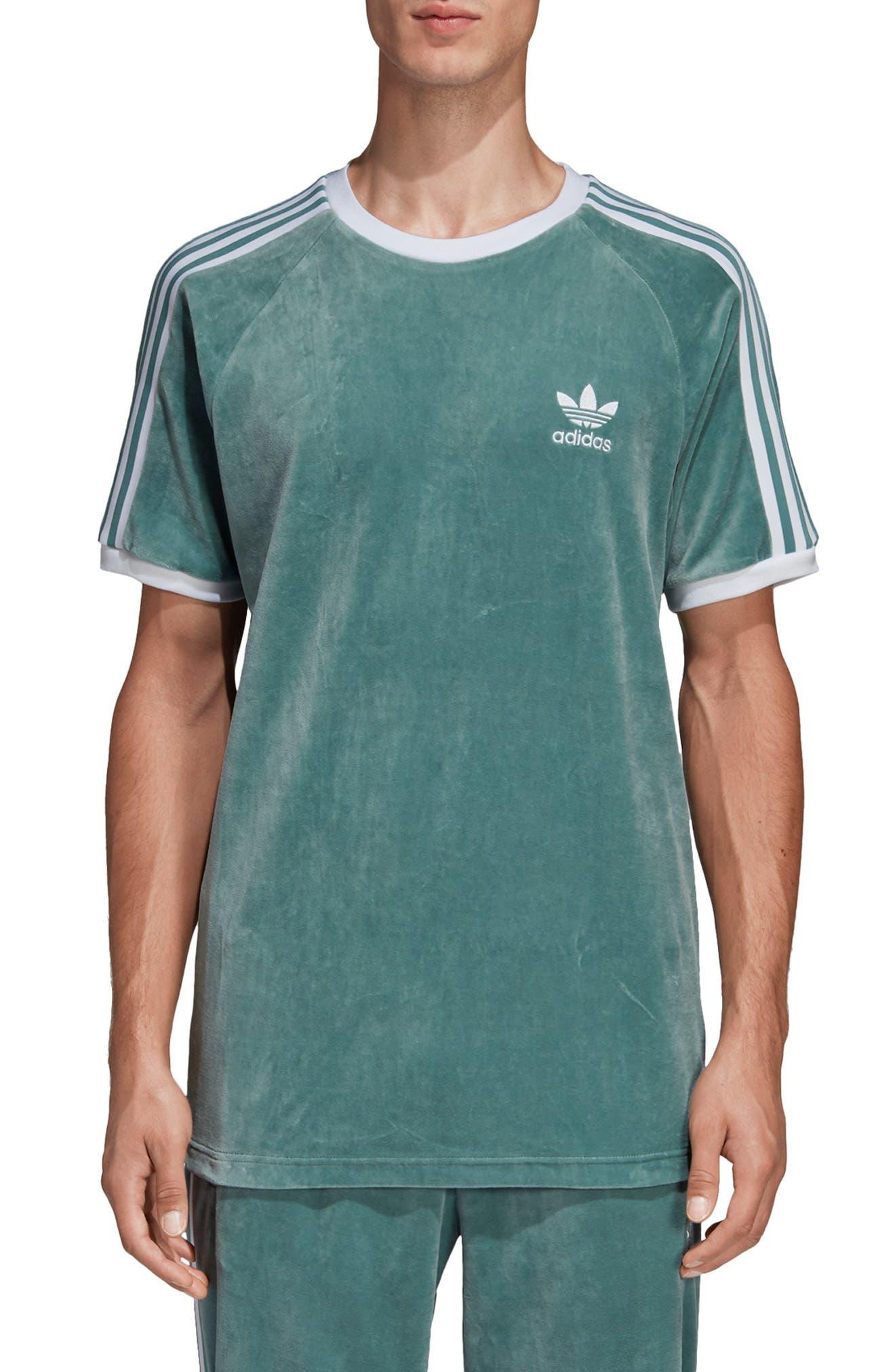 Adidas Originals Cozy Velour T-Shirt, Blue