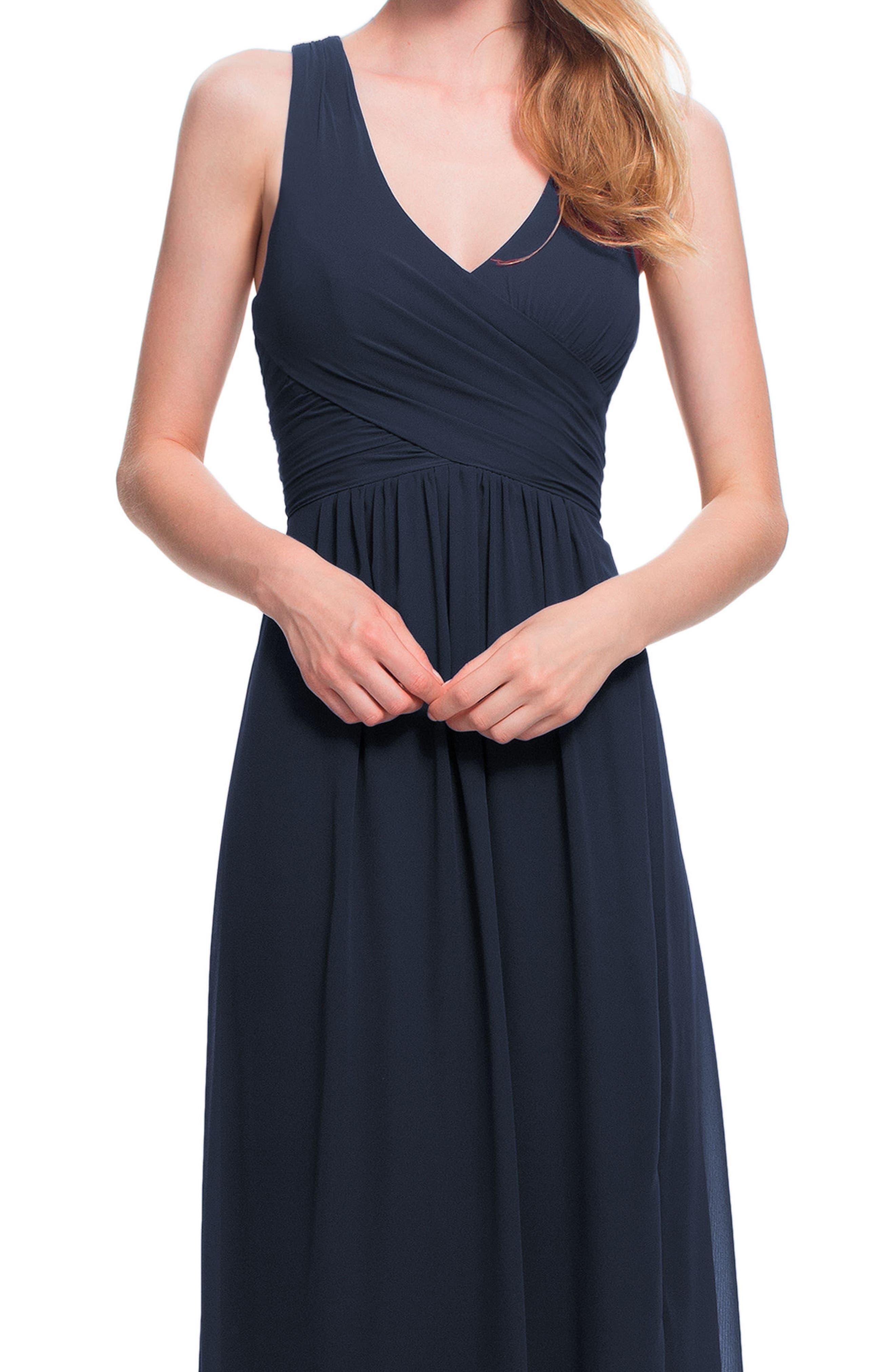 Back Cutout Chiffon Gown,                             Alternate thumbnail 3, color,                             NAVY