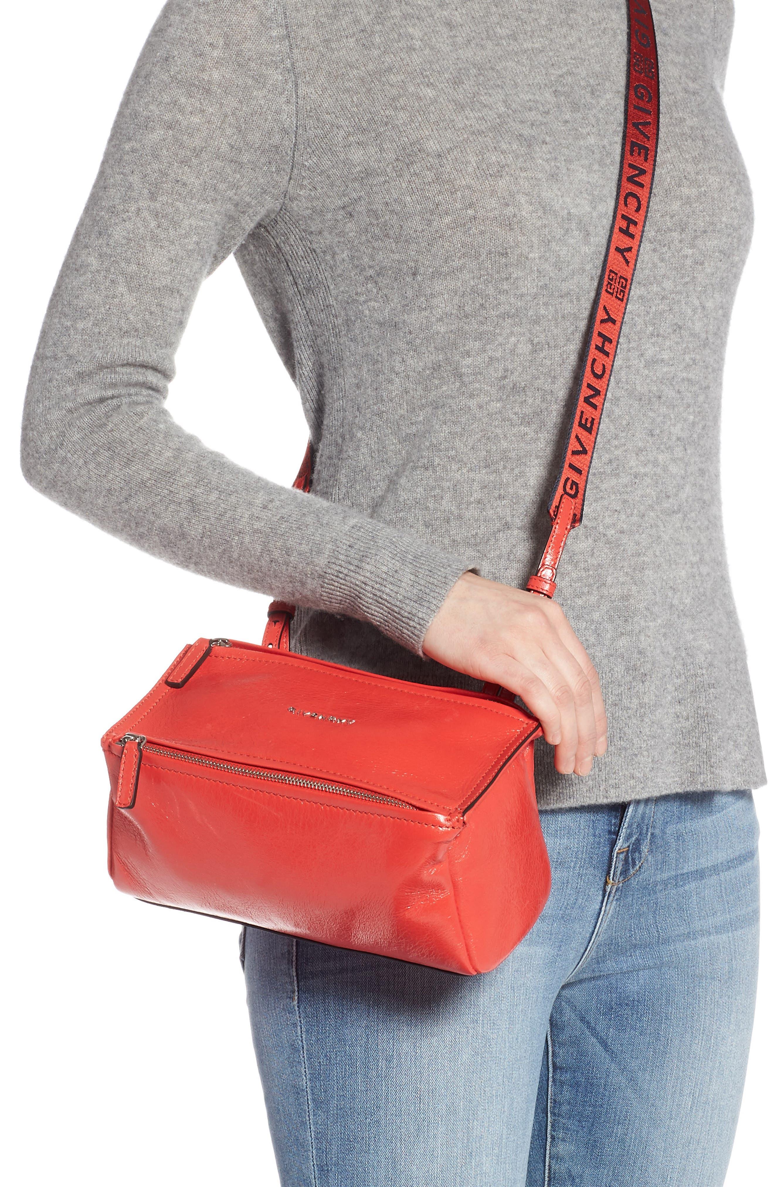 Mini Pandora Glazed Leather Shoulder Bag,                             Alternate thumbnail 2, color,                             POP RED