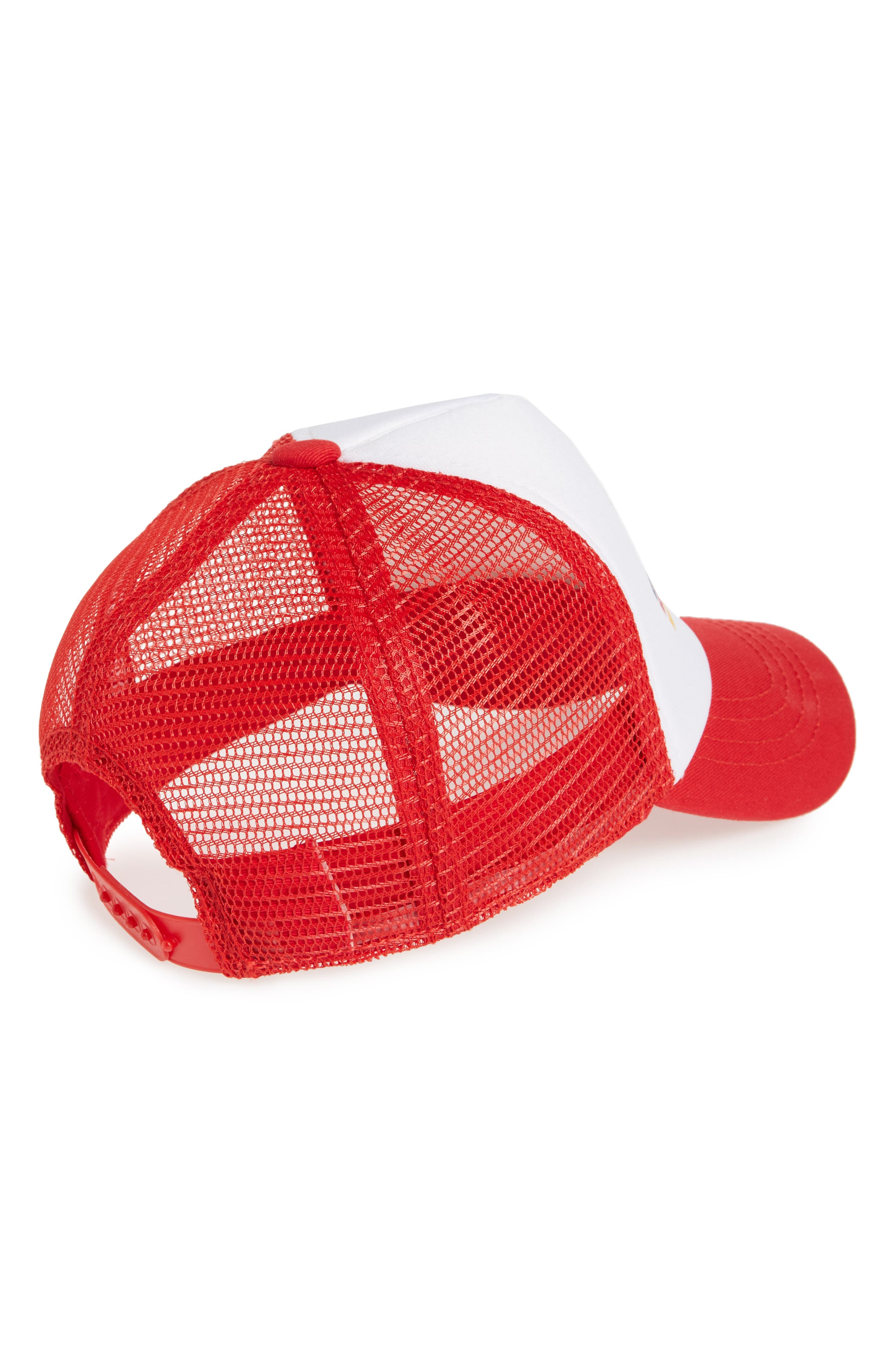 Dude Trucker Hat,                             Alternate thumbnail 2, color,                             RED/ WHITE