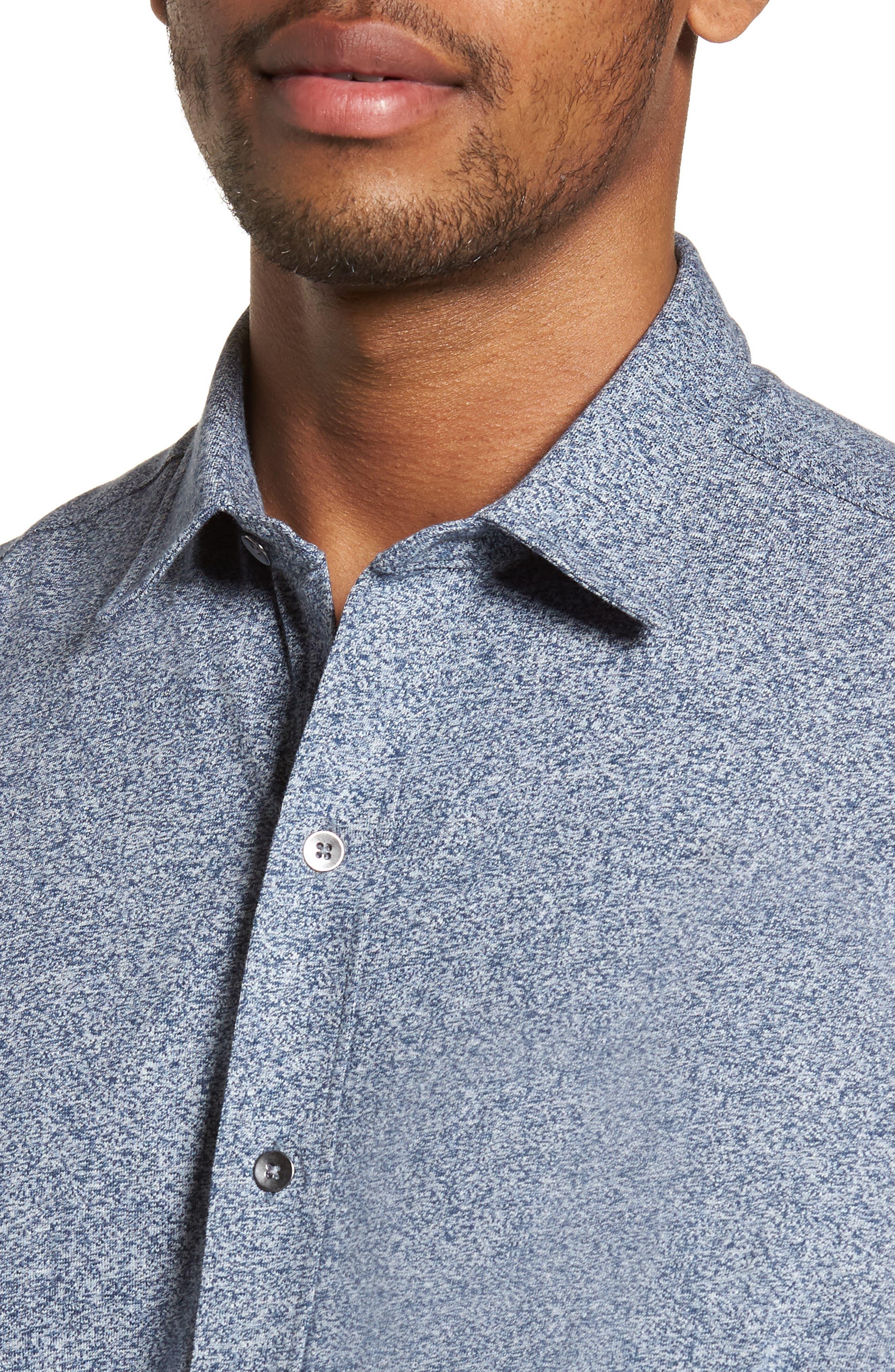 'Metropolitan' Knit Short Sleeve Sport Shirt,                             Alternate thumbnail 4, color,                             NAVY/ WHITE