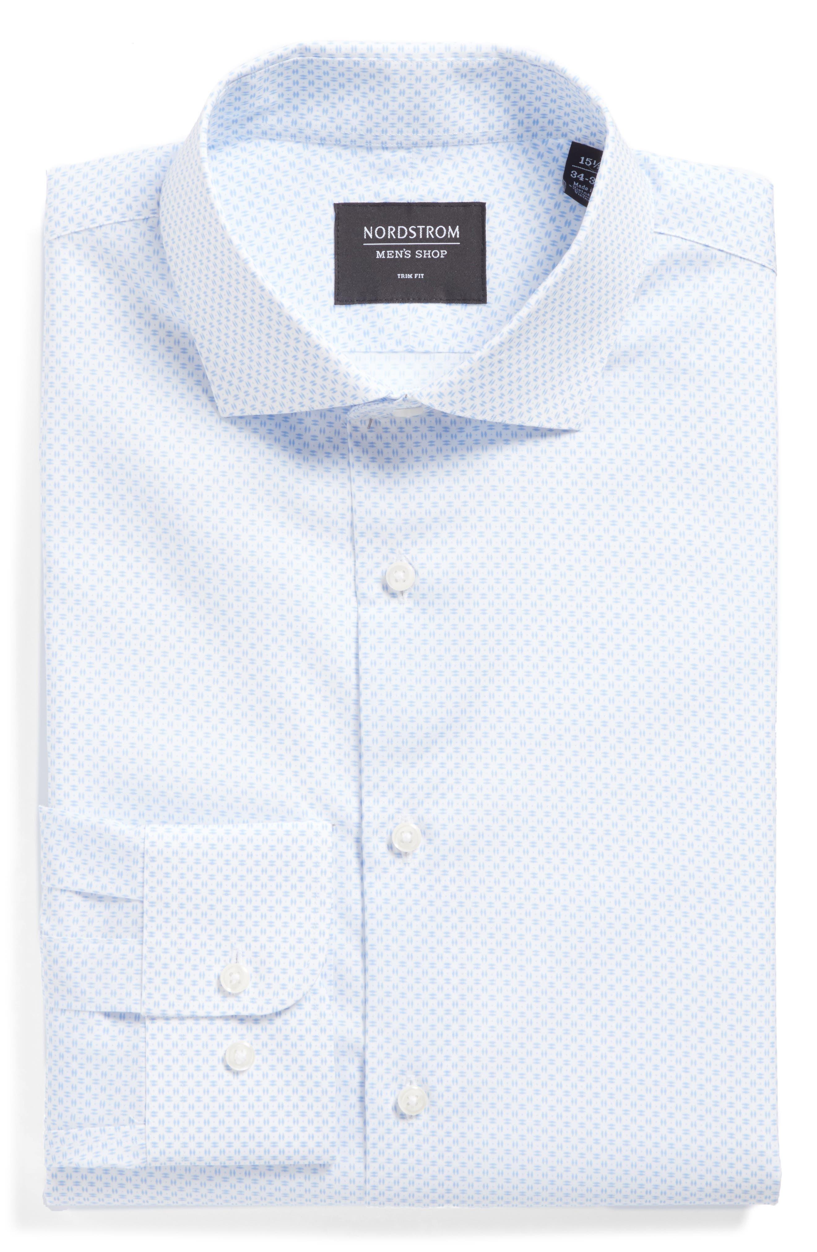 Trim Fit Dress Shirt,                             Alternate thumbnail 5, color,                             100