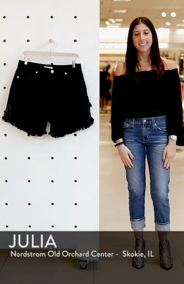 Bombshell High Waist Cutoff Denim Shorts, sales video thumbnail