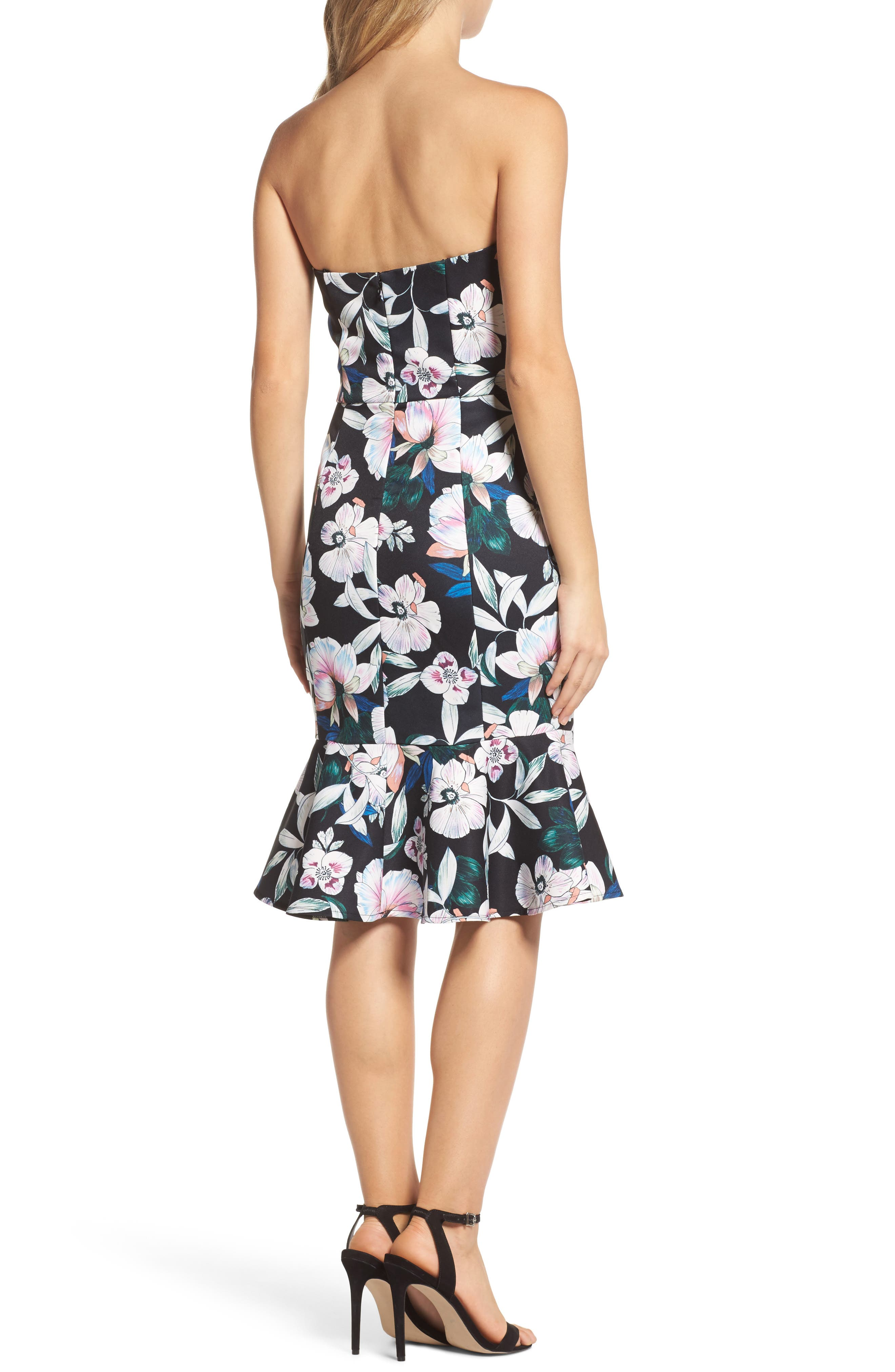 Whimsical Blooms Strapless Dress,                             Alternate thumbnail 2, color,