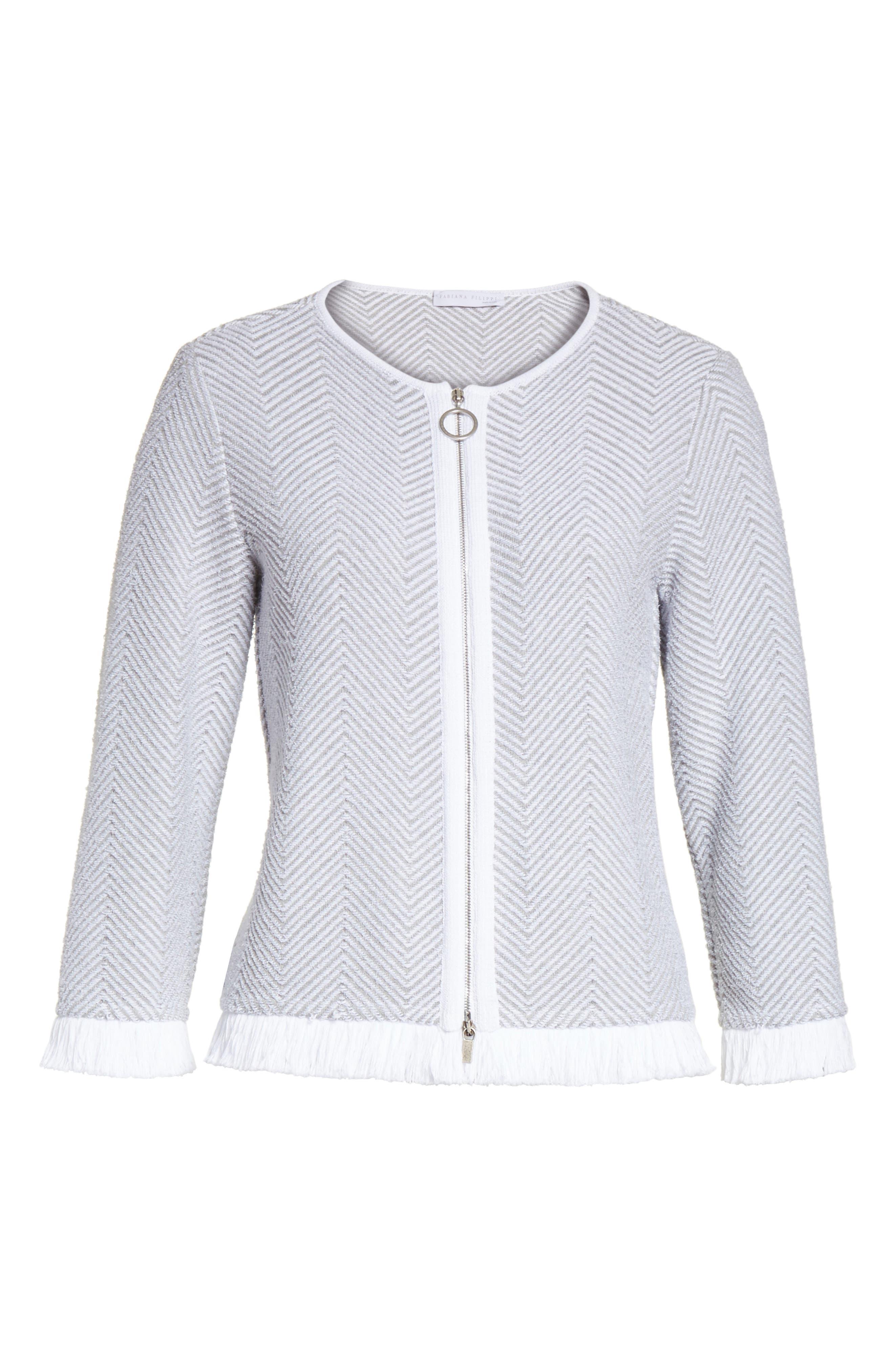 Chevron Knit Jacket,                             Alternate thumbnail 5, color,                             050