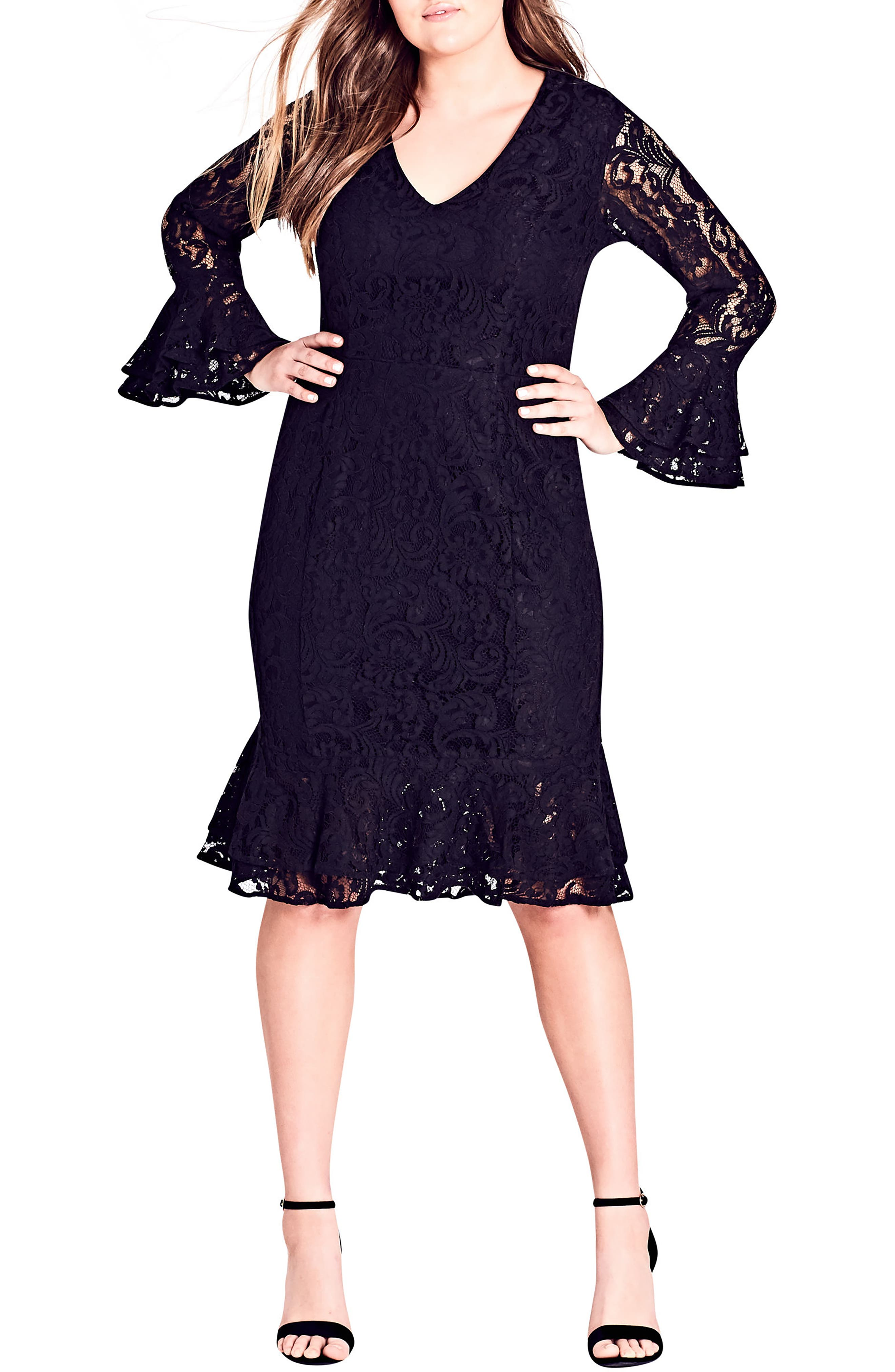 Lace Desire Dress,                         Main,                         color, BLACK