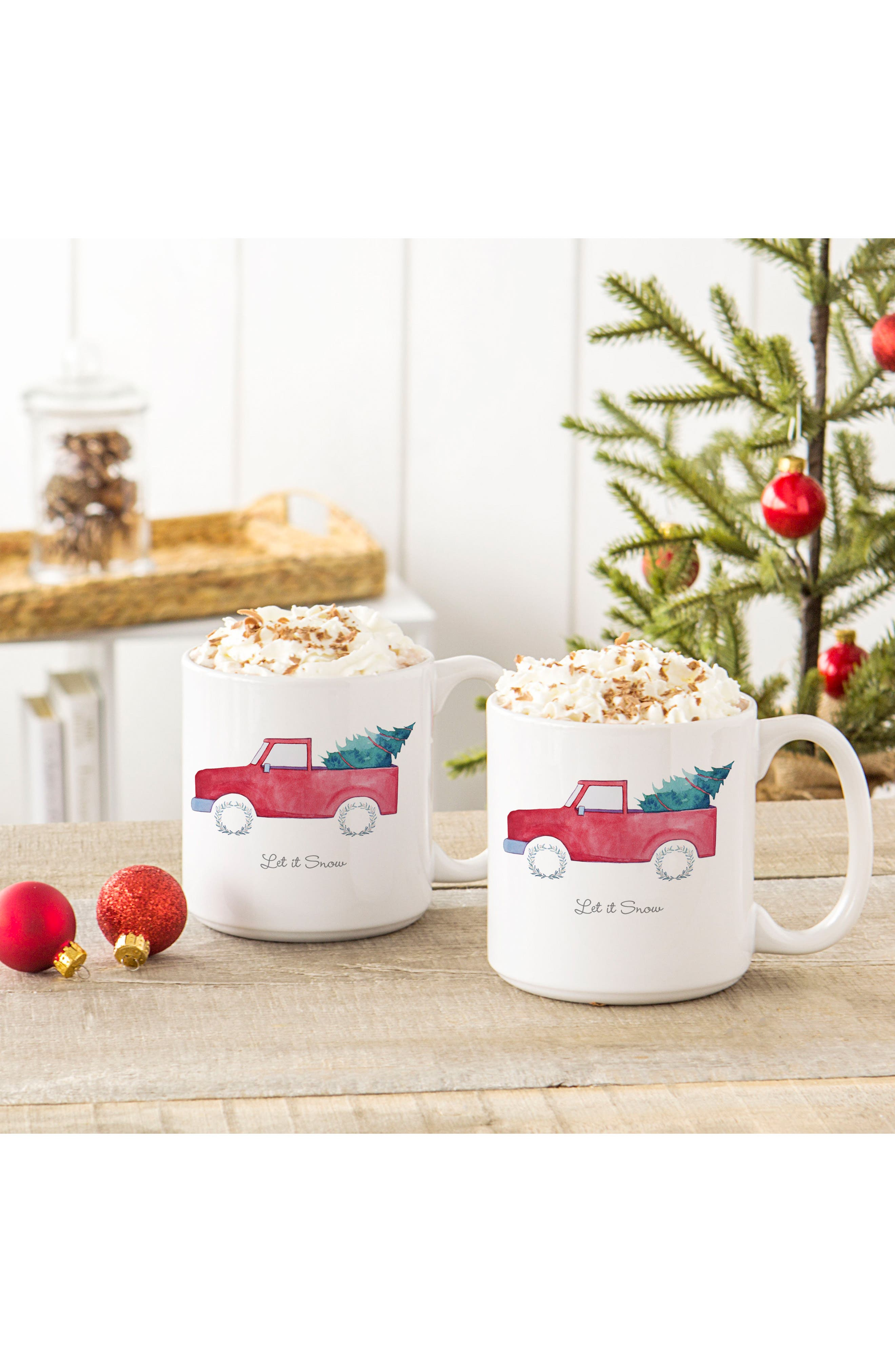 Let It Snow Set of 2 Mugs,                             Alternate thumbnail 2, color,                             RED