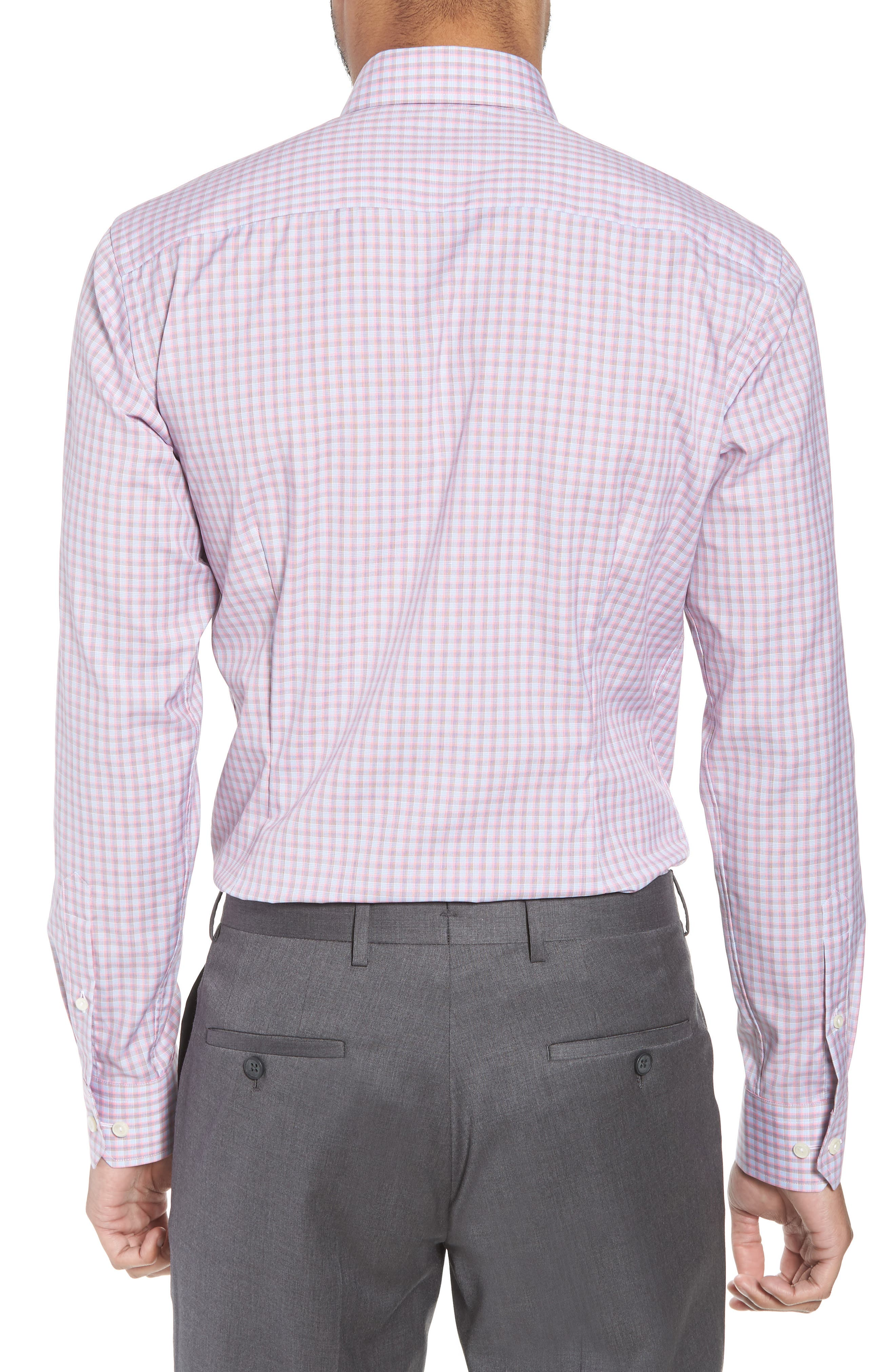 Contemporary Fit Plaid Dress Shirt,                             Alternate thumbnail 3, color,                             PINK