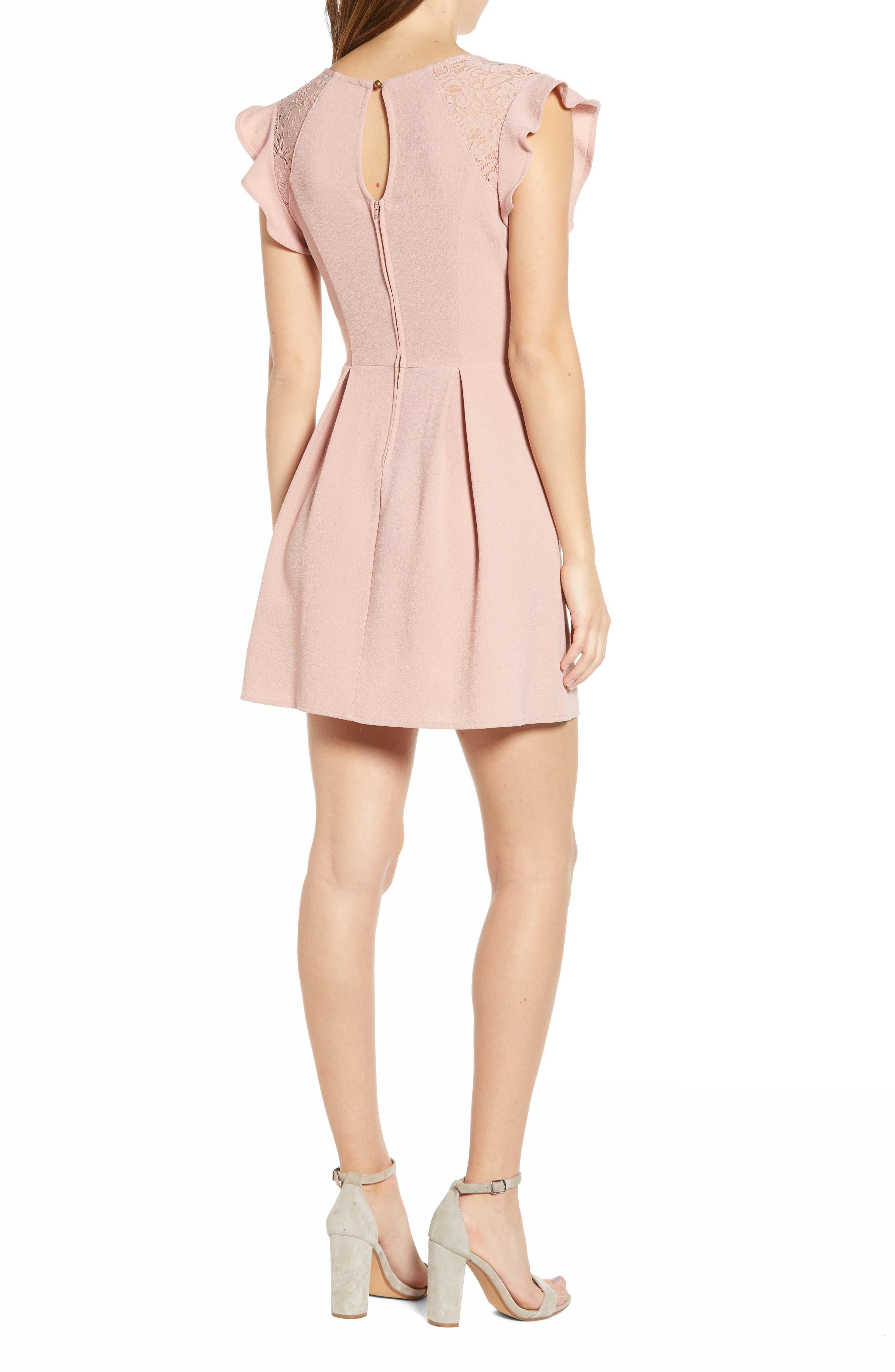 SPEECHLESS,                             Crepe Flutter Sleeve Fit & Flare Dress,                             Alternate thumbnail 2, color,                             ANTIQUE ROSE