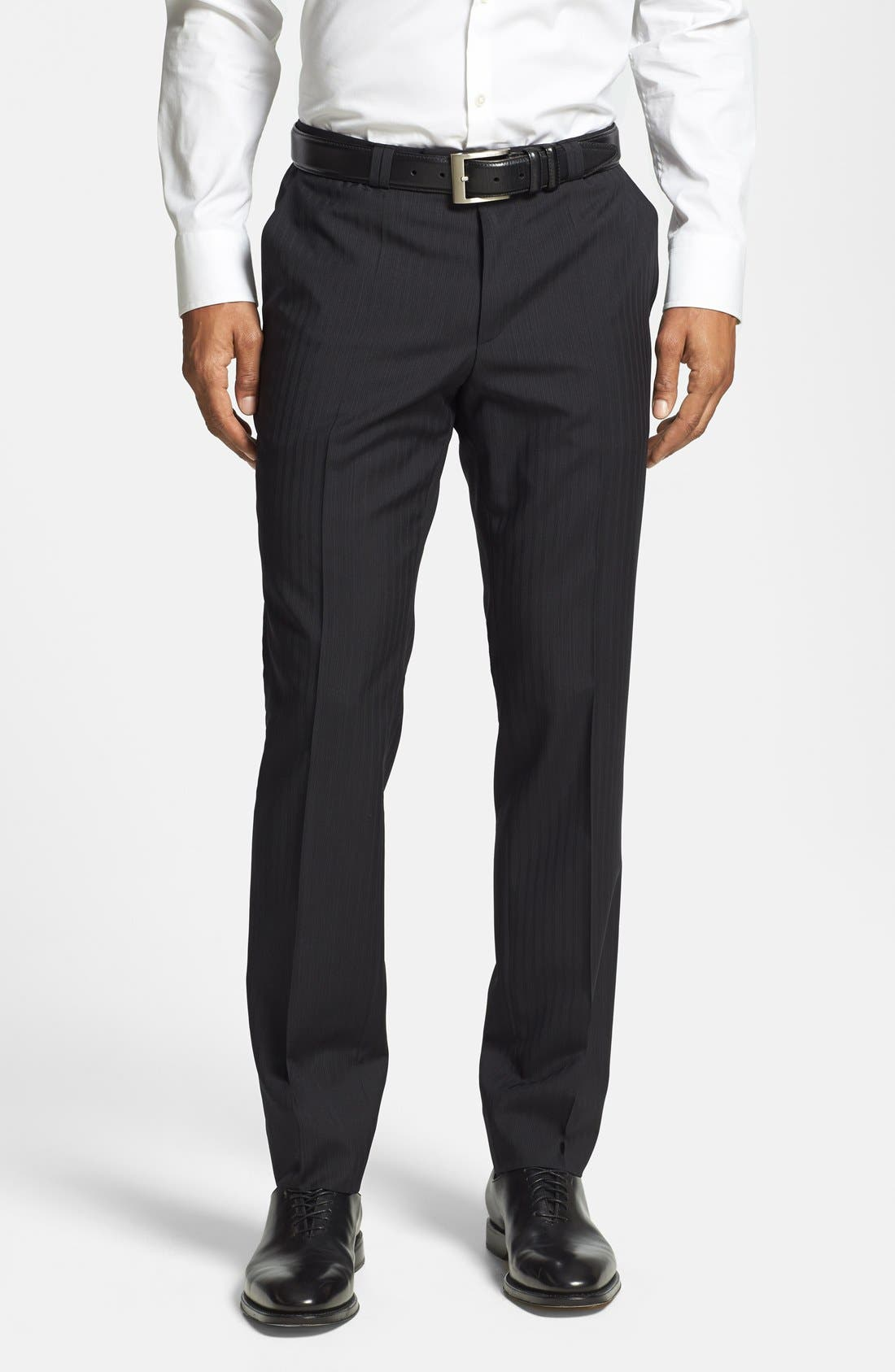 BOSS HUGO BOSS 'Adris/Heibo' Extra Trim Fit Stripe Suit,                             Alternate thumbnail 4, color,                             001