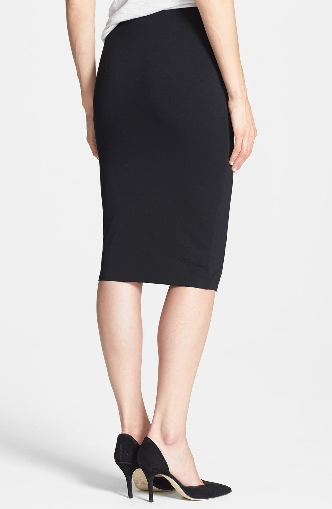 Stretch Knit Midi Tube Skirt,                             Alternate thumbnail 3, color,                             RICH BLACK
