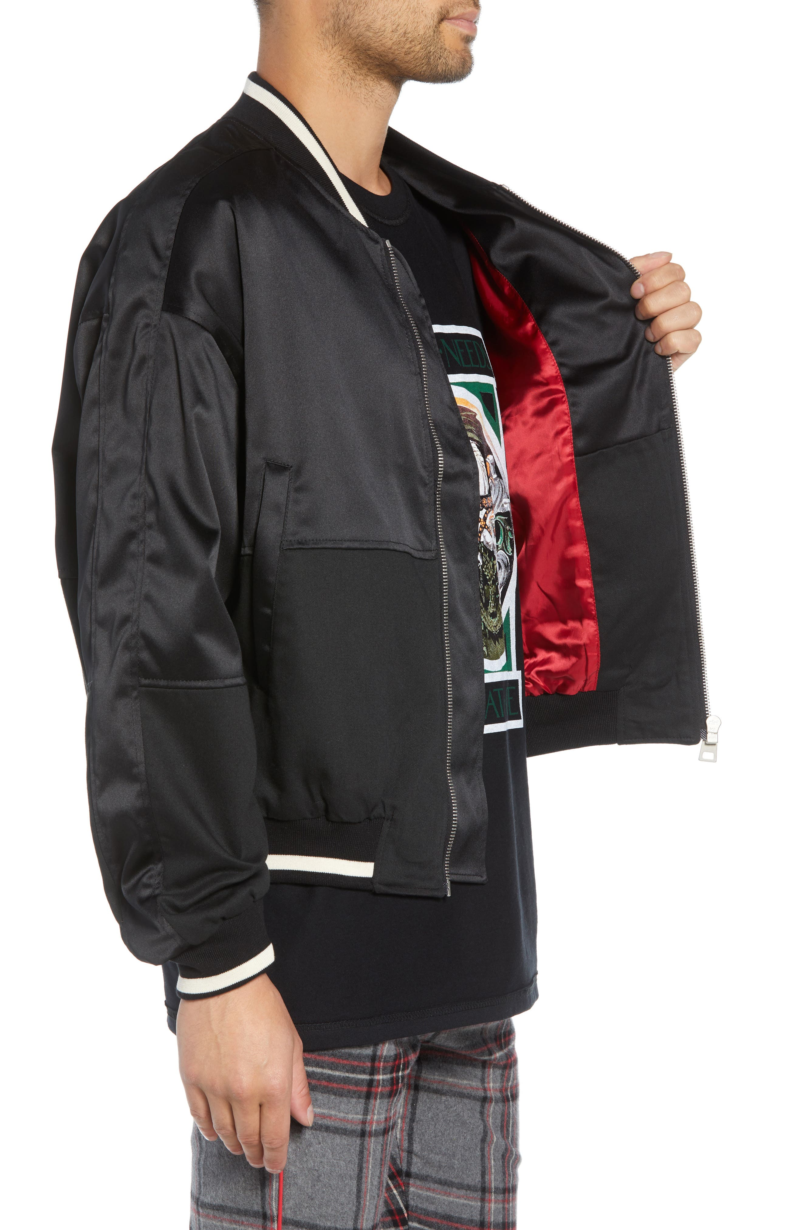 Military Bomber Jacket,                             Alternate thumbnail 3, color,                             BLACK