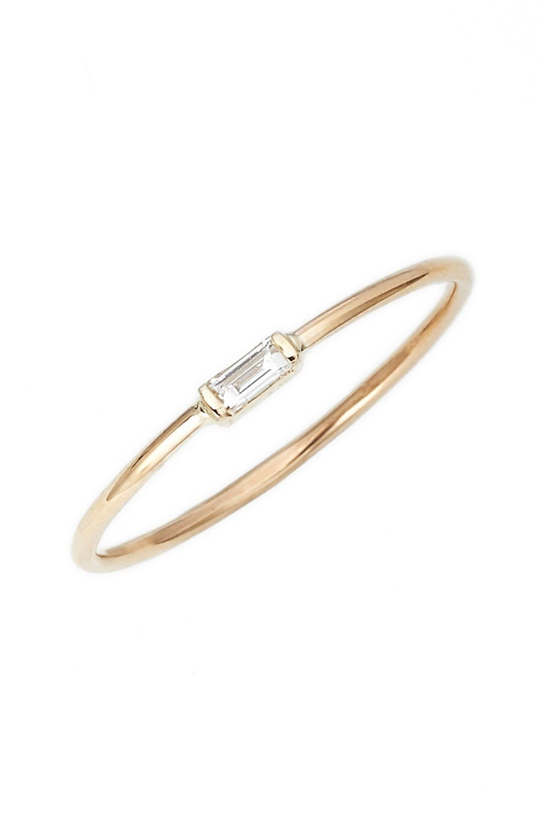 Baguette Diamond Stacking Ring,                             Main thumbnail 1, color,                             YELLOW GOLD
